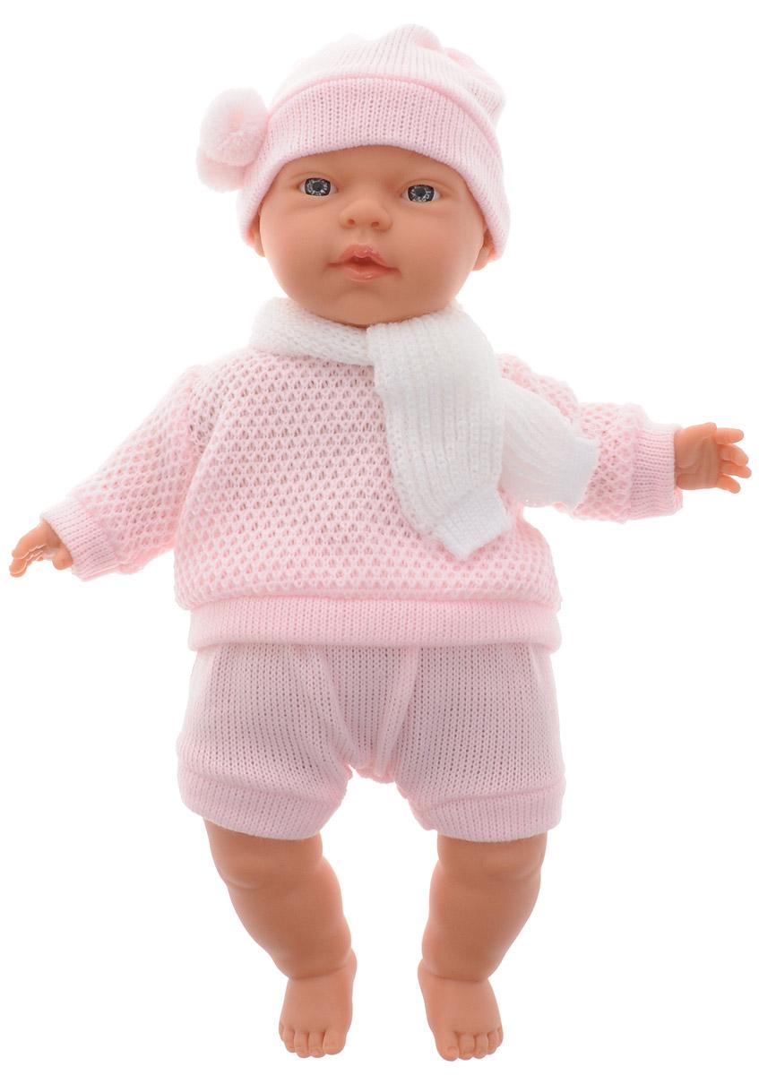 Llorens Пупс Люсия в розовом костюмеL 33402_розовый костюм(свитер/шорты/шапка)Пупс Llorens Люсия порадует вашу малышку и доставит ей много удовольствия от часов, посвященных игре с ним. Куколка выполнена в виде младенца-девочки. Кукла с реалистичными глазками выглядит совсем как настоящий ребенок. На пупсе надеты шортики, вязаная кофточка, на голове у него шапочка, а на шее повязан шарф. Ручки, ножки и голова пупса подвижны и изготовлены из высококачественного материала. Тело пупса мягконабивное. Игра с куклой разовьет в вашей малышке чувство ответственности и заботы. Порадуйте ее таким великолепным подарком!