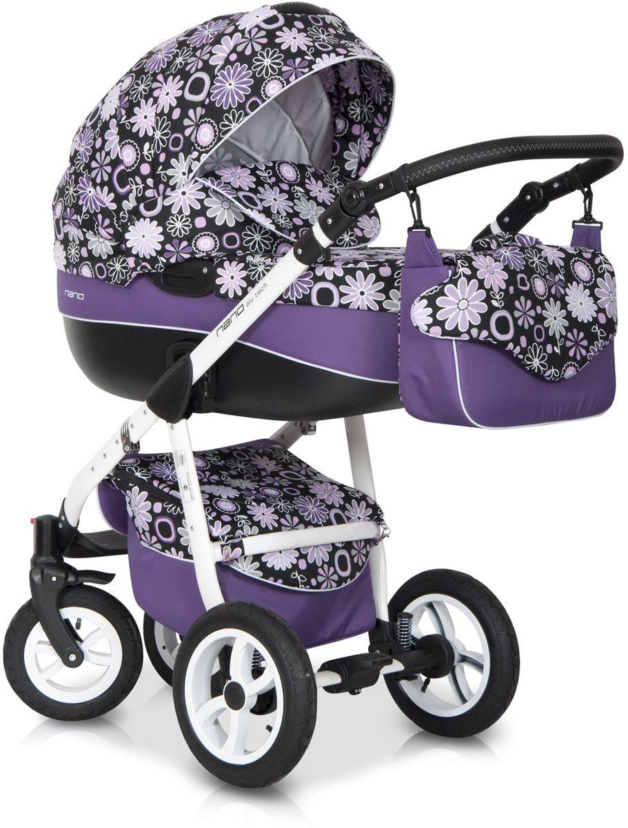 Riko Коляска 2 в 1 Nano Flower Collection цвет фиолетовый5901812681928Комбинированная коляска: алюминиевая рама, съемная пластиковая люлька с ручкой, прогулочное сидение с ремнями безопасности, регулируемая ручка, передние поворотные колеса, накидка на ноги, амортизаторы, чехол от дождя, москитная сетка, надувные колеса