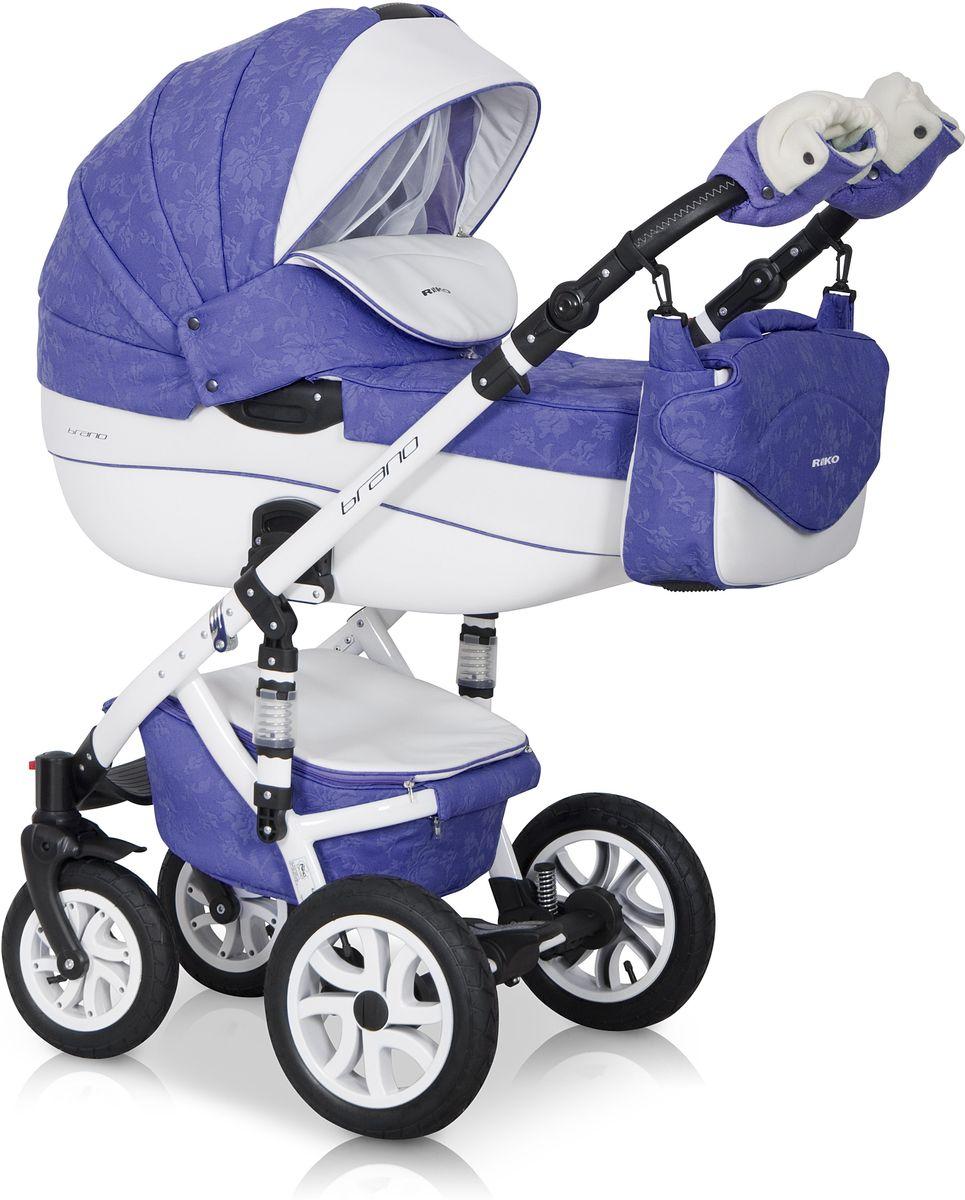 Riko Коляска 2 в 1 Brano Ecco цвет фиолетовый белый5901812682895Комбинированная коляска 2-в-1. Просторная пластиковая люлька, прогулочное сидение со всеми регулировками, закрытая корзина, сумка, вставки из премиальной кожи, надувные колеса, алюминиевая конструкция