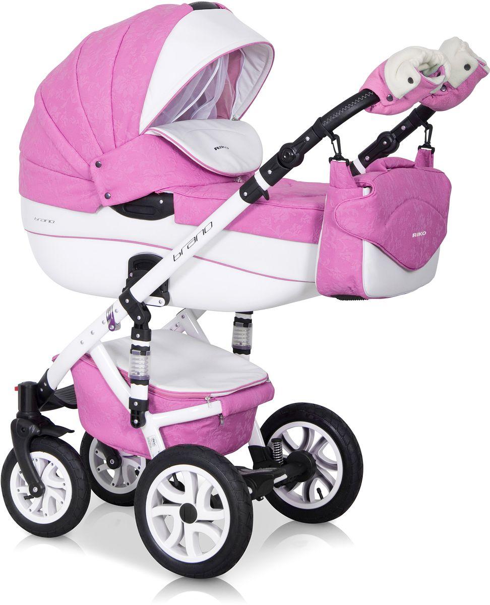 Riko Коляска 2 в 1 Brano Ecco цвет розовый белый5901812682888Комбинированная коляска 2-в-1. Просторная пластиковая люлька, прогулочное сидение со всеми регулировками, закрытая корзина, сумка, вставки из премиальной кожи, надувные колеса, алюминиевая конструкция