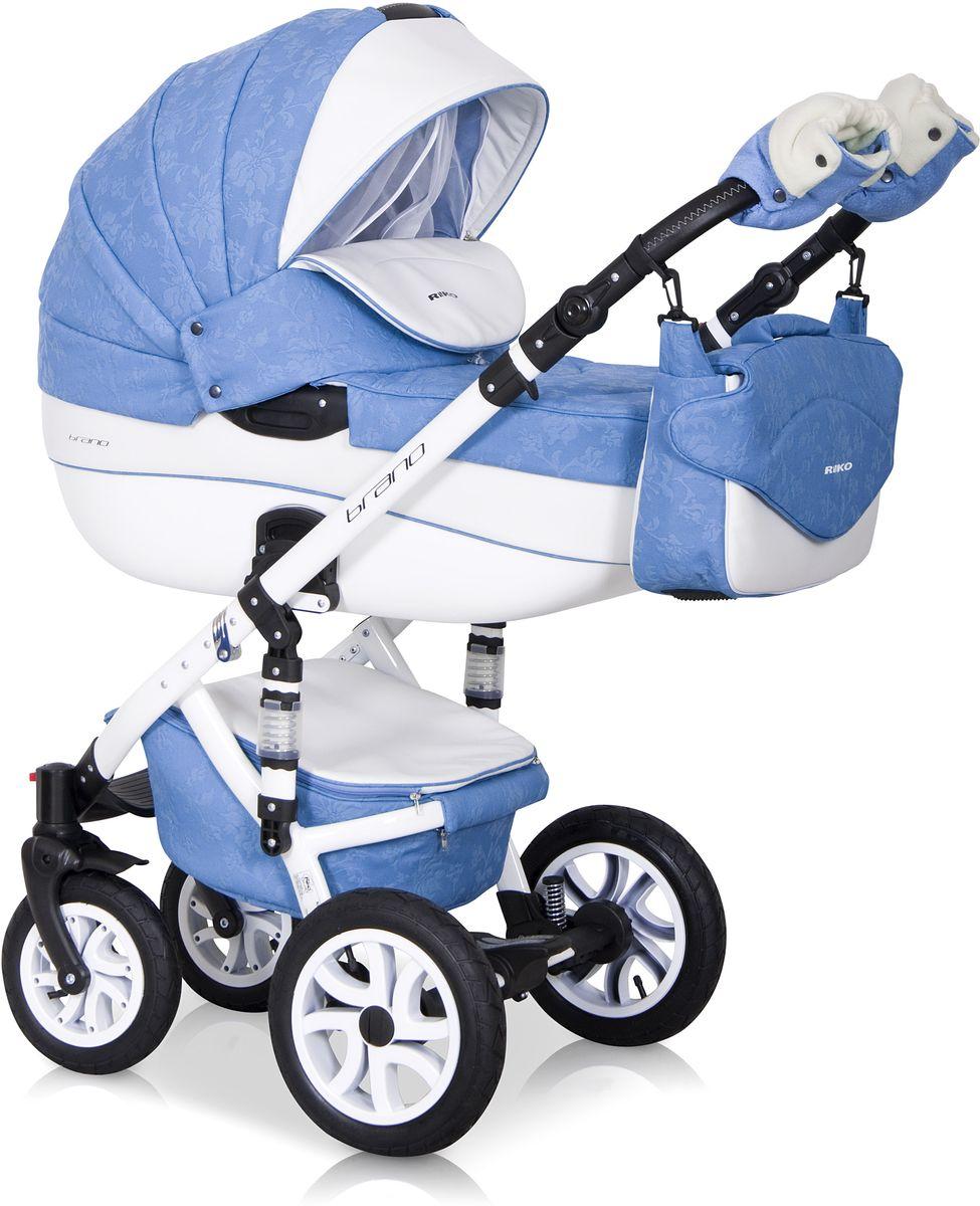 Riko Коляска 2 в 1 Brano Ecco цвет голубой белый5901812682864Комбинированная коляска 2-в-1. Просторная пластиковая люлька, прогулочное сидение со всеми регулировками, закрытая корзина, сумка, вставки из премиальной кожи, надувные колеса, алюминиевая конструкция