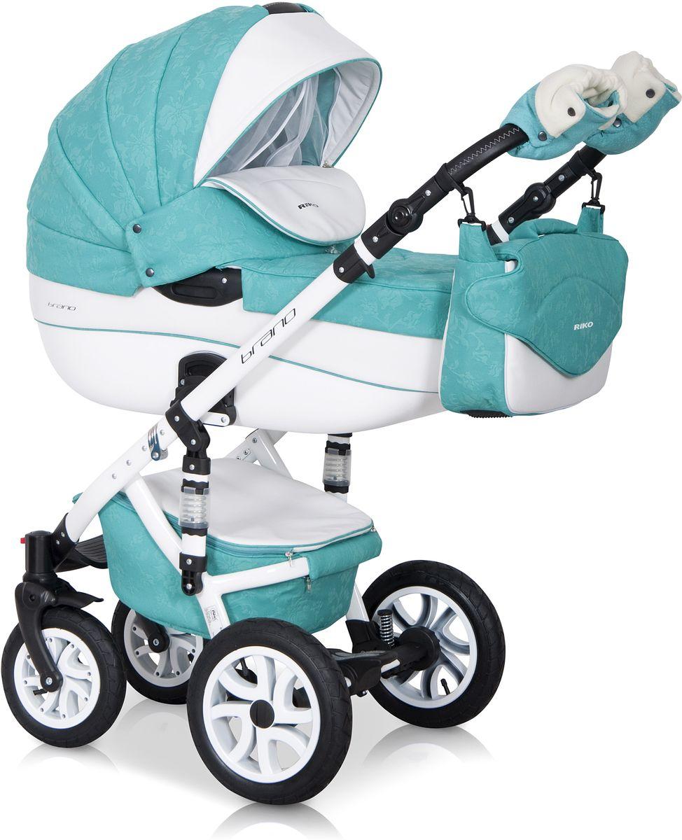 Riko Коляска 2 в 1 Brano Ecco цвет бирюзовый белый5901812682857Комбинированная коляска 2-в-1. Просторная пластиковая люлька, прогулочное сидение со всеми регулировками, закрытая корзина, сумка, вставки из премиальной кожи, надувные колеса, алюминиевая конструкция