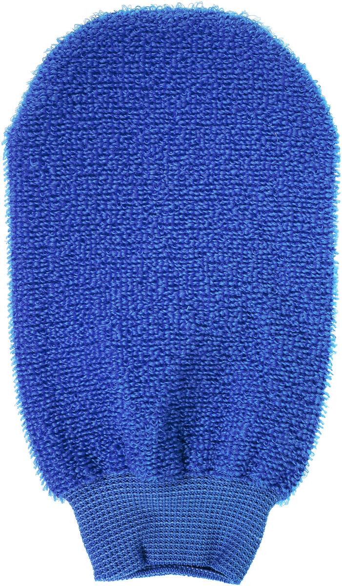 Riffi Мочалка-рукавица, массажная, двухсторонняя, цвет: синий707_синий