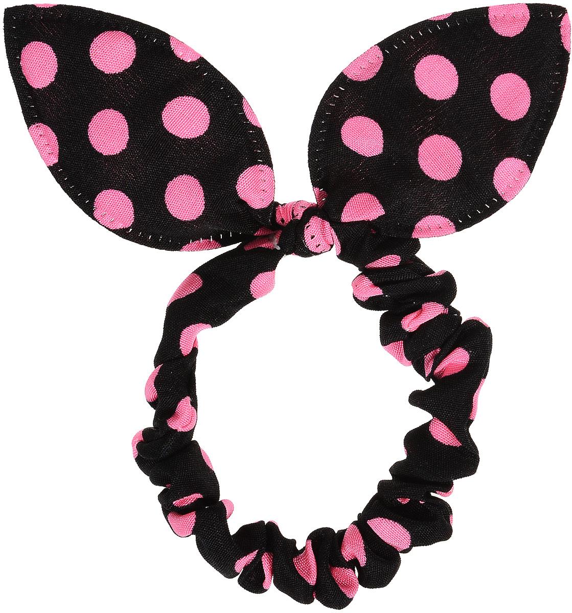 Magic Leverage Резинка в горошек, цвет: черный, розовыйрг_черный, розовыйСтильная и удобная резинка для волос. Диаметр 5 см.