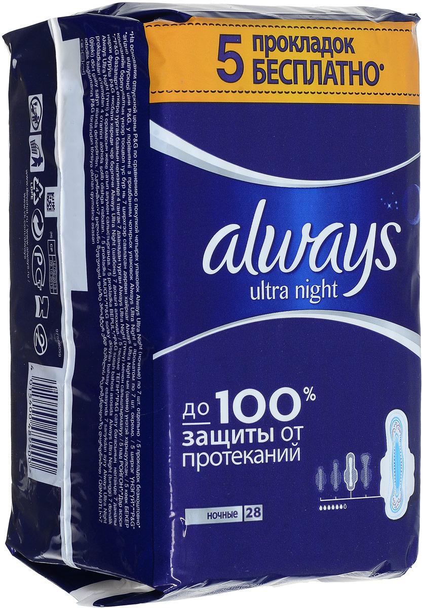 Always Ultra Женские гигиенические прокладки ароматизированные Night Quatro 28штAL-83732005Ультратонкие прокладки Always Ultra обеспечивают до 100% защиты от протеканий. НОВЫЕ УЛУЧШЕННЫЕ Always защищают тебя во время менструаций, быстро впитывая жидкость и блокируя ее внутри прокладки Новый быстро впитывающий и более комфортный верхний слой Новый усиленный абсорбирующий внутренний слой с еще большим количеством впитывающего гелеобразующего материала Технология нейтрализации запаха, содержит легкий аромат Крылышки с шестью растягивающимися зонами защищают от протеканий Дерматологически протестированы