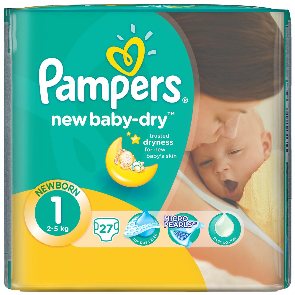Pampers Подгузники New Baby-Dry 2-5 кг (размер 1) 27 штPA-81338033Для каждого доброго утра нужно, до 12 часов сухости ночью. Вот почему подгузники Pampers New Baby-Dry имеют жемчужные микрогранулы, которые впитывают влаги до 30 раз больше собственного веса и надежно удерживают ее внутри подгузника. Просыпайтесь радостно каждое утро с подгузниками Pampers New Baby-Dry. - Мягкий, как хлопок, уникальный верхний слой моментально впитывает влагу с кожи. - Жемчужные микрогранулы впитывают влаги до 30 раз больше собственного веса. - Экстра слой абсорбирует жидкость и распределяет ее по подгузнику. - Тянущиеся боковинки разработаны, чтоб малышу было комфортно двигаться, а подгузник сидел плотно.