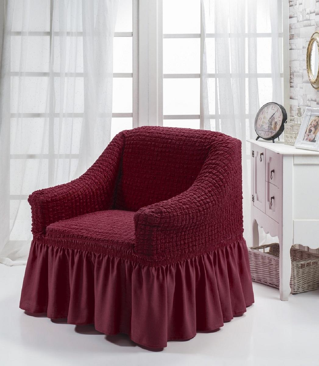 Чехол для кресла Burumcuk Bulsan, цвет: бордовый1797/CHAR002Чехол на кресло Burumcuk Bulsan выполнен из высококачественного полиэстера и хлопка с красивым рельефом. Предназначен для кресла стандартного размера со спинкой высотой в 140 см. Такой чехол изысканно дополнит интерьер вашего дома. Изделие прорезинено со всех сторон и оснащено закрывающей оборкой. Ширина и глубина посадочного места: 70-80 см. Высота спинки от сиденья: 70-80 см. Высота подлокотников: 35-45 см. Ширина подлокотников: 25-35 см. Длина оборки: 35 см.