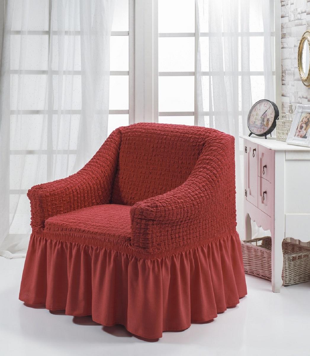 Чехол для кресла Burumcuk Bulsan, цвет: кирпичный1797/CHAR008Чехол на кресло Burumcuk Bulsan выполнен из высококачественного полиэстера и хлопка с красивым рельефом. Предназначен для кресла стандартного размера со спинкой высотой в 140 см. Такой чехол изысканно дополнит интерьер вашего дома. Изделие прорезинено со всех сторон и оснащено закрывающей оборкой. Ширина и глубина посадочного места: 70-80 см. Высота спинки от сиденья: 70-80 см. Высота подлокотников: 35-45 см. Ширина подлокотников: 25-35 см. Длина оборки: 35 см.