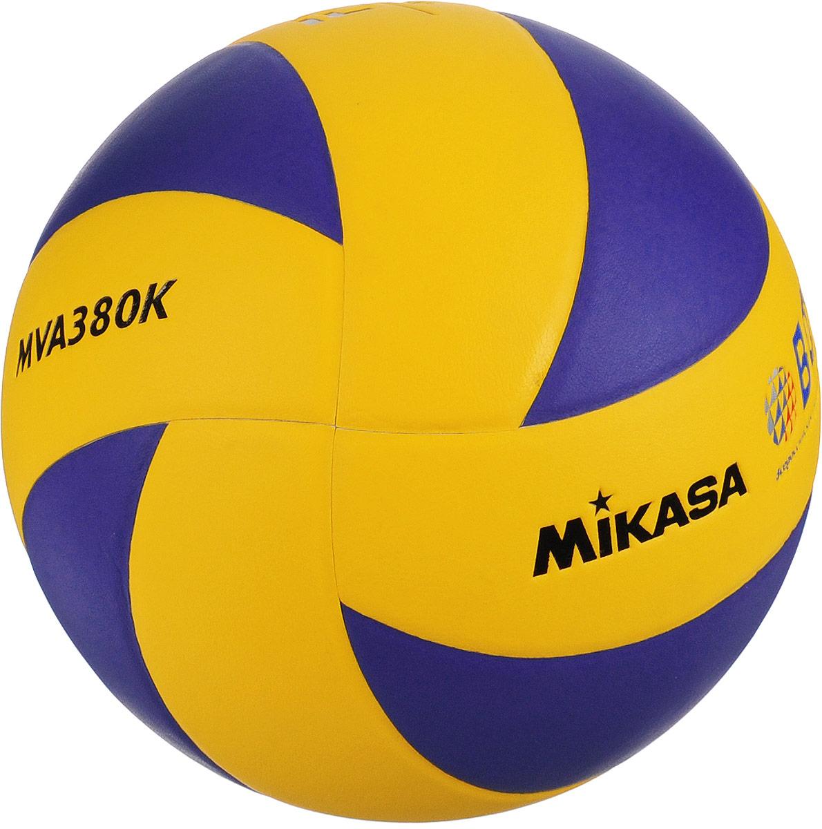 Мяч волейбольный Mikasa MVA 380K. Размер 5УТ-00005647Mikasa MVA 380K - это тренировочный и любительский мяч для тех, кто хочет играть в течение длительного времени настоящим брендовым мячом. Мяч состоит из 8 панелей, выполненных из синтетической кожи (поливинилхлорид). Камера выполнена из бутила и армирована нейлоновой нитью. УВАЖЕМЫЕ КЛИЕНТЫ! Обращаем ваше внимание на тот факт, что мяч поставляется в сдутом виде. Насос в комплект не входит.