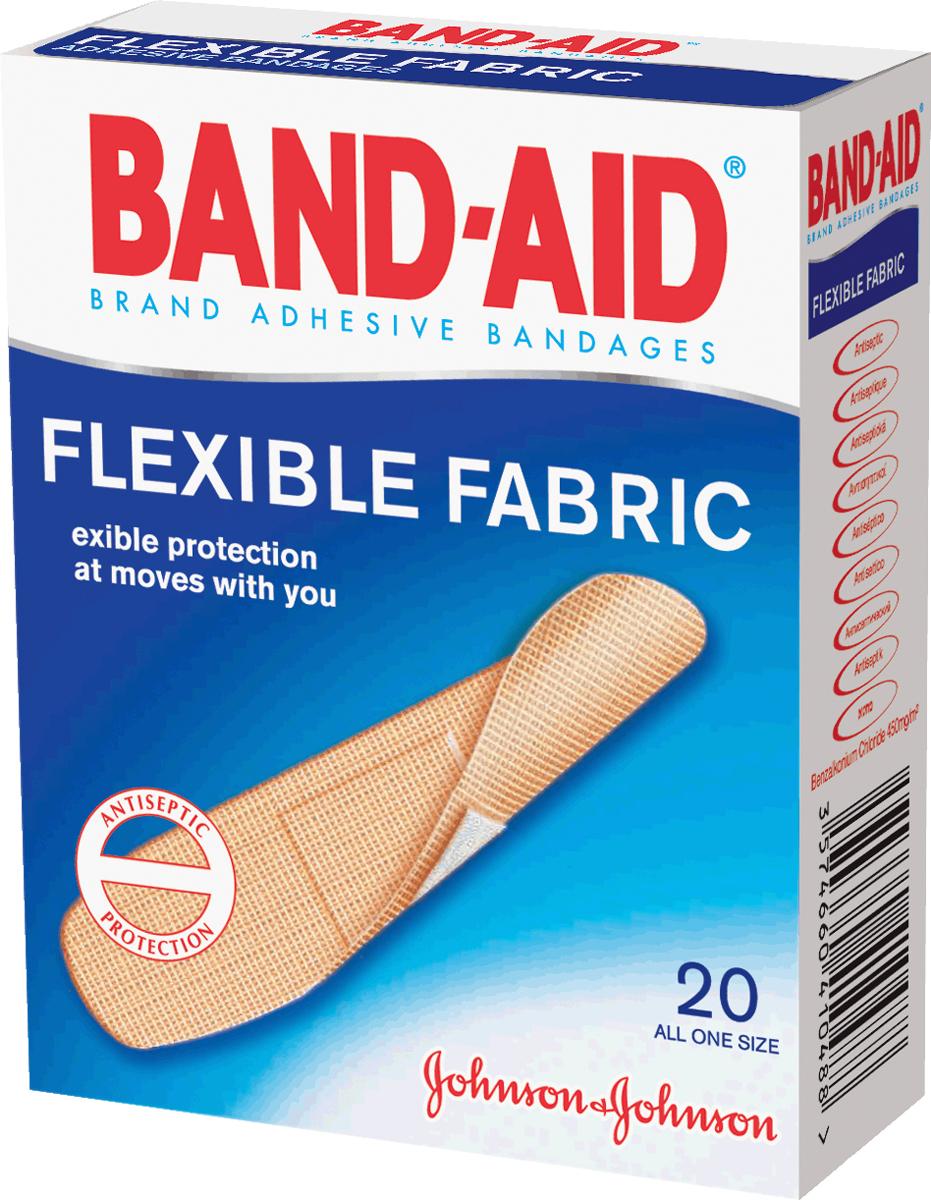 BAND-AID Пластырь Антисептический Эластичный 20шт
