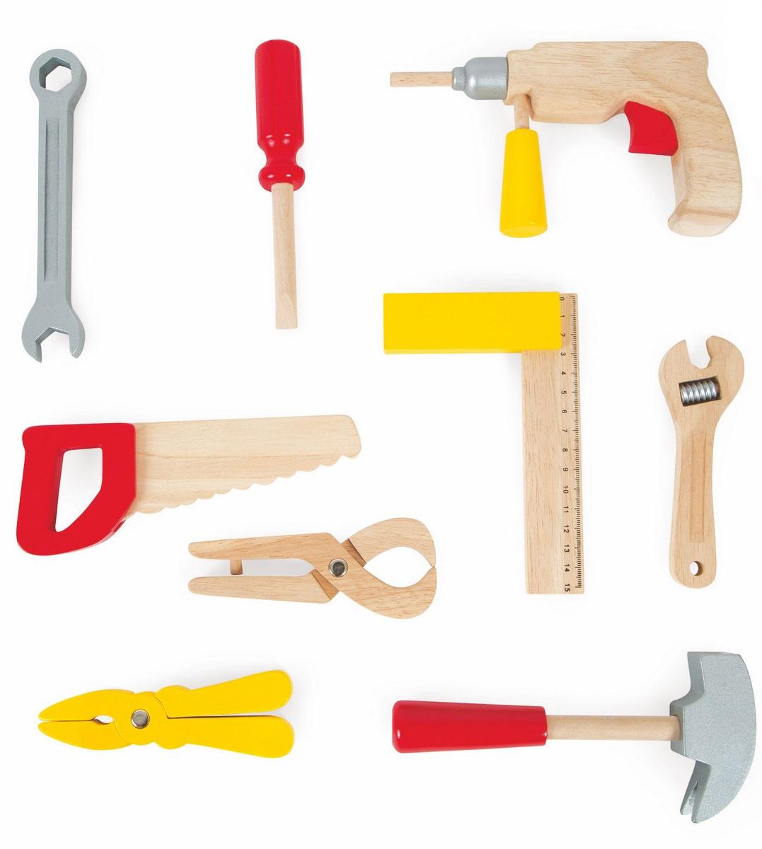 Janod Игрушечный набор Мастерская 9 предметовJ06488Игрушечный набор Janod Мастерская включает в себя все самое необходимого для маленького строителя. Все элементы набора выполнены из натуральной древесины и окрашены безопасными для ребенка красками. Детский набор инструментов поможет ребенку безопасно познакомиться с различными видами инструментов, приобрести первые навыки работы с ними, почувствовать себя настоящим маленьким мастером. Девять инструментов легко крепятся в самом чемоданчике для удобного хранения и переноски.