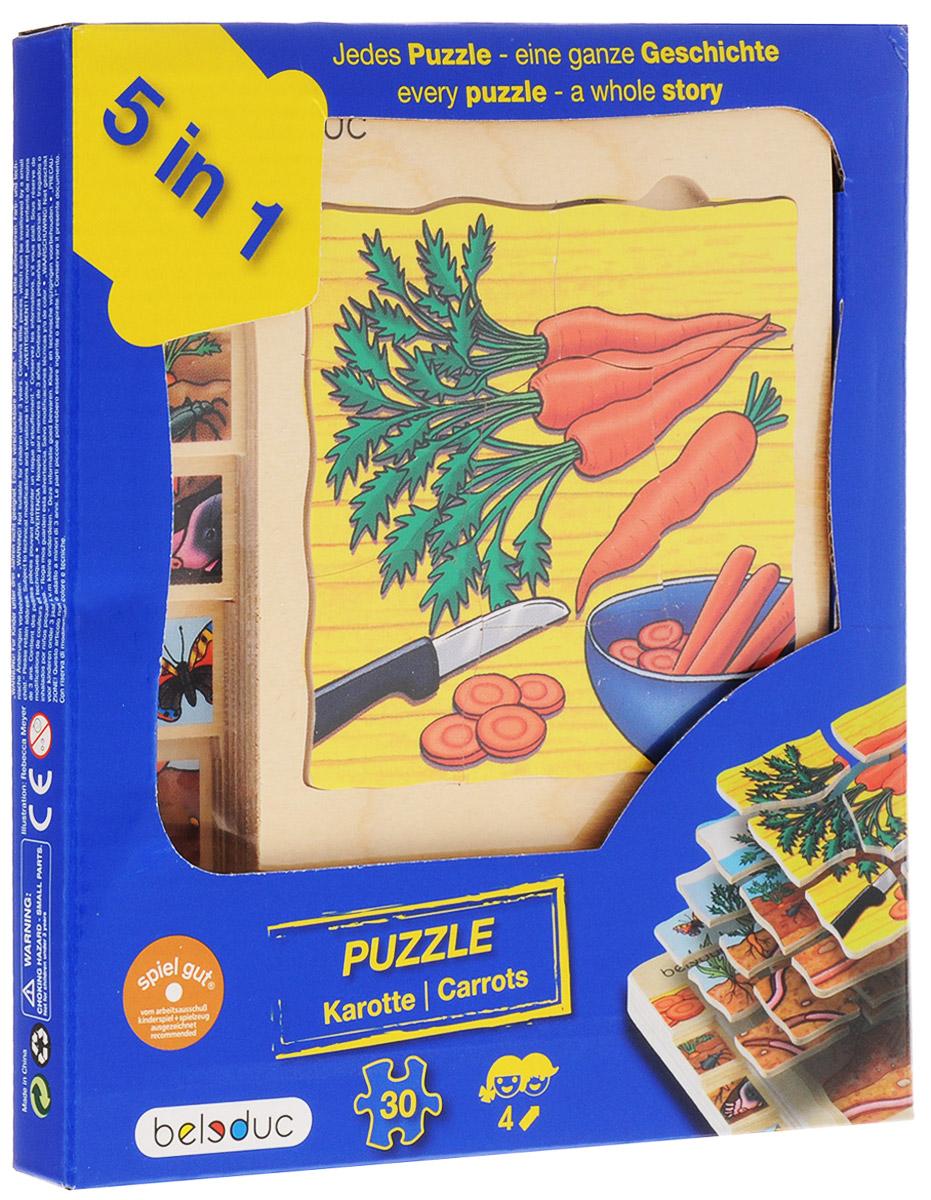 Beleduc Пазл для малышей Морковка 5 в 117044С помощью пазла Beleduc Морковка. 5 в 1 дети узнают как растет морковь. Каждый пазл в этом наборе - целая история. Задача ребенка - собрать не только части каждого пазла, но и сложить слоями все пазлы в правильной последовательности. Собирание пазла развивает у ребенка мелкую моторику рук, тренирует наблюдательность, логическое мышление, знакомит с окружающим миром, с цветом и разнообразными формами, учит усидчивости и терпению, аккуратности и вниманию.