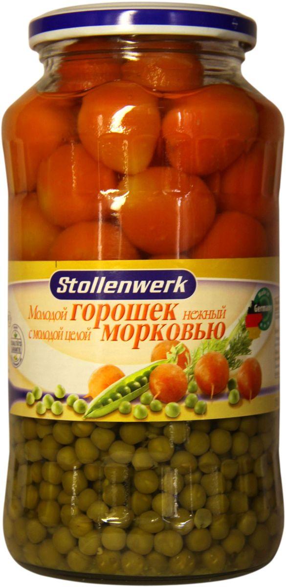 Stollenwerk горошек молодой с молодой морковью, 720 млСТo 89661Горошек Stollenwerk - собирается молодым, не перезревшим; мелкий и нежный на вкус.