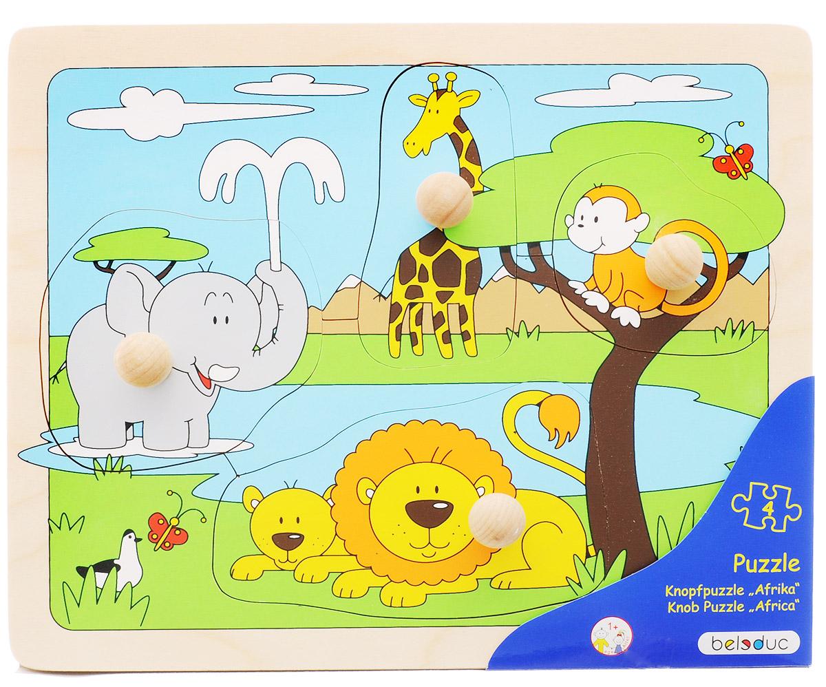 Beleduc Пазл для малышей Африка10147Пазл для малышей Beleduc Африка - прекрасная развивающая игрушка для детей в возрасте от одного года. Пазл познакомит малышей с животными, проживающими в Африке. Пазл состоит из основы и 4 частей. К каждой части прикреплена специальная ручка, чтобы малышам было удобно брать детали. Игра способствует развитию логического мышления, произвольного внимания, учит различать предметы по цвету, форме и размеру, развивает мелкую моторику рук. Пазл изготовлен из высококачественного дерева, покрыт безопасными красками.