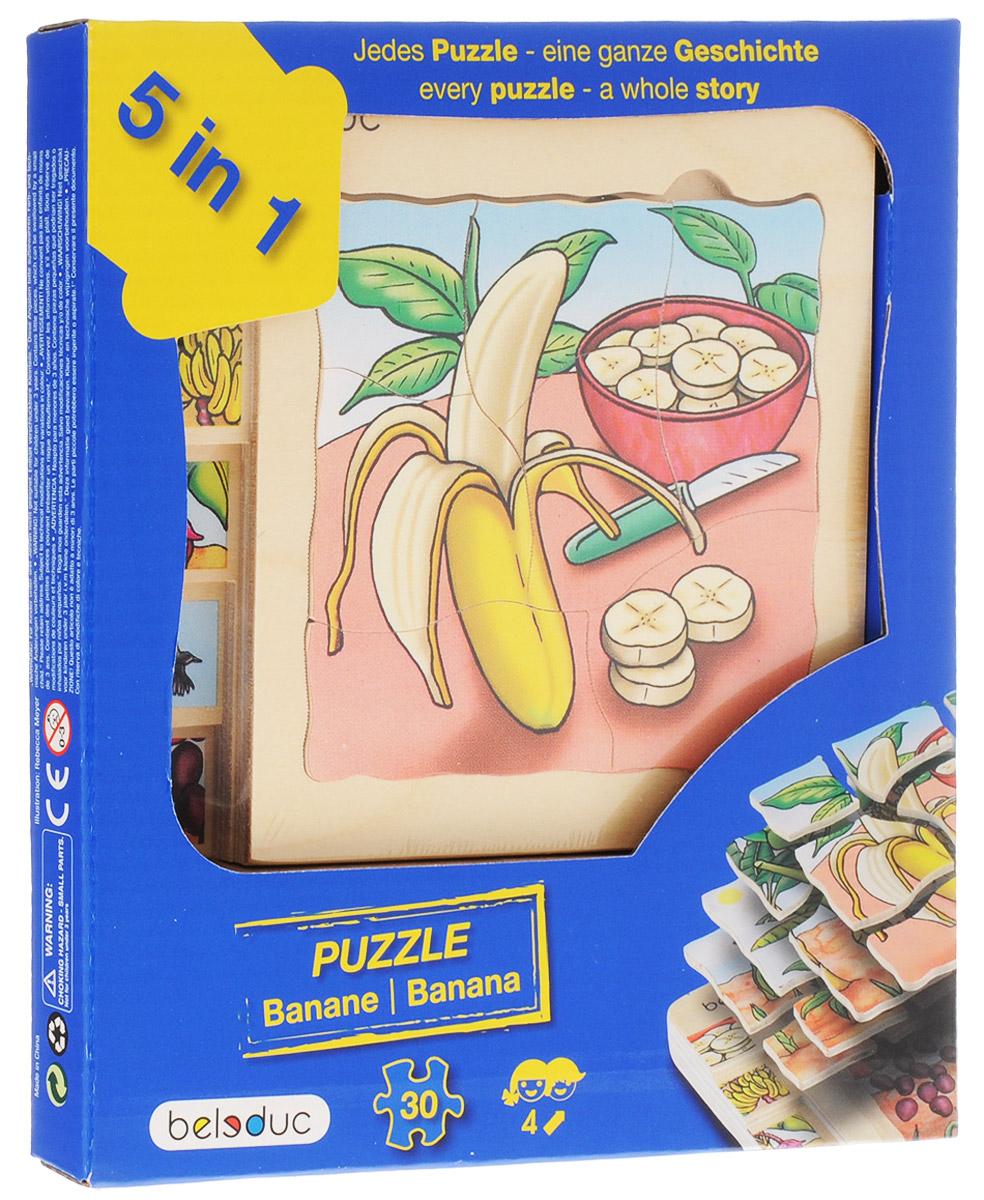 Beleduc Пазл для малышей Банан 5 в 117049С помощью пазла Beleduc Банан. 5 в 1 дети узнают, как растет банан. Каждый пазл в этом наборе - целая история. Задача ребенка - собрать не только части каждого пазла, но и сложить слоями все пазлы в правильной последовательности. Собирание пазла развивает у ребенка мелкую моторику рук, тренирует наблюдательность, логическое мышление, знакомит с окружающим миром, с цветом и разнообразными формами, учит усидчивости и терпению, аккуратности и вниманию.
