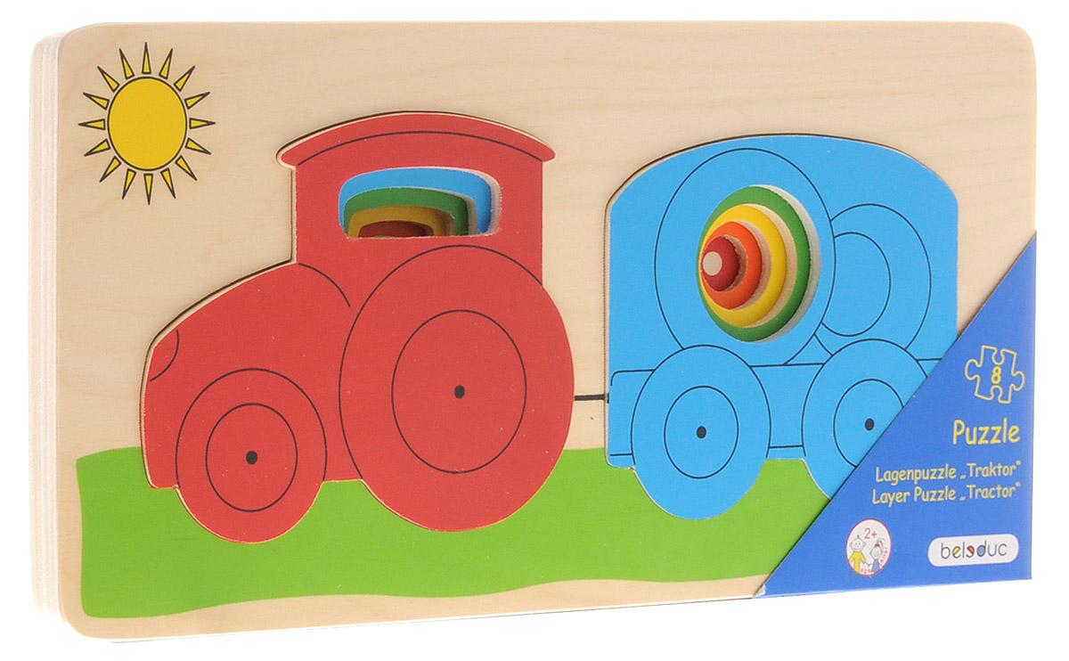 Beleduc Пазл для малышей Трактор10144Пазл для малышей Beleduc Трактор - увлекательная развивающая игра для детей, выполненная из высококачественной древесины и раскрашенная в яркие цвета нетоксичными красками. Вкладывая элементы в деревянную рамку, ребенок сможет собрать картинку с трактором, попутно осваивая понятия больше-меньше, изучая цвета и порядок следования фигур от маленьких к большим. Основа и элементы пазла имеют закругленные формы и безопасны для малышей. Игра развивает у детей мелкую моторику, координацию движений и цветовое восприятие.
