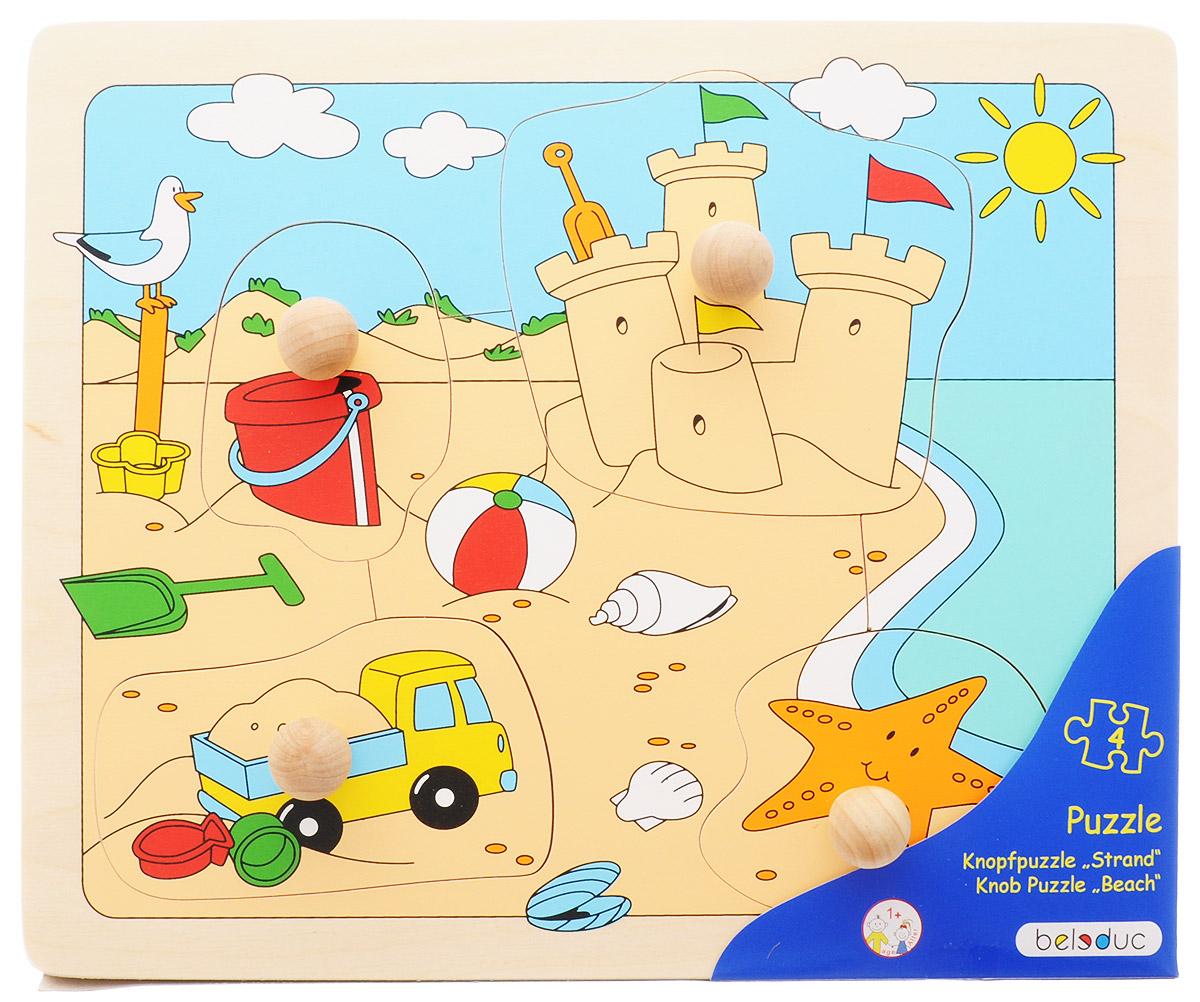 Beleduc Пазл для малышей Пляж10148Пазл для малышей Beleduc Пляж - прекрасная развивающая игрушка для детей в возрасте от одного года. Пазл познакомит малышей с пляжем и пляжными играми. Пазл состоит из четырех частей. К каждой части прикреплена специальная ручка, чтобы малышам было удобно брать детали. Игра способствует развитию логического мышления, произвольного внимания, учит различать предметы по цвету, форме и размеру, развивает мелкую моторику рук. Пазл изготовлен из высококачественного дерева, покрыт безопасными красками.