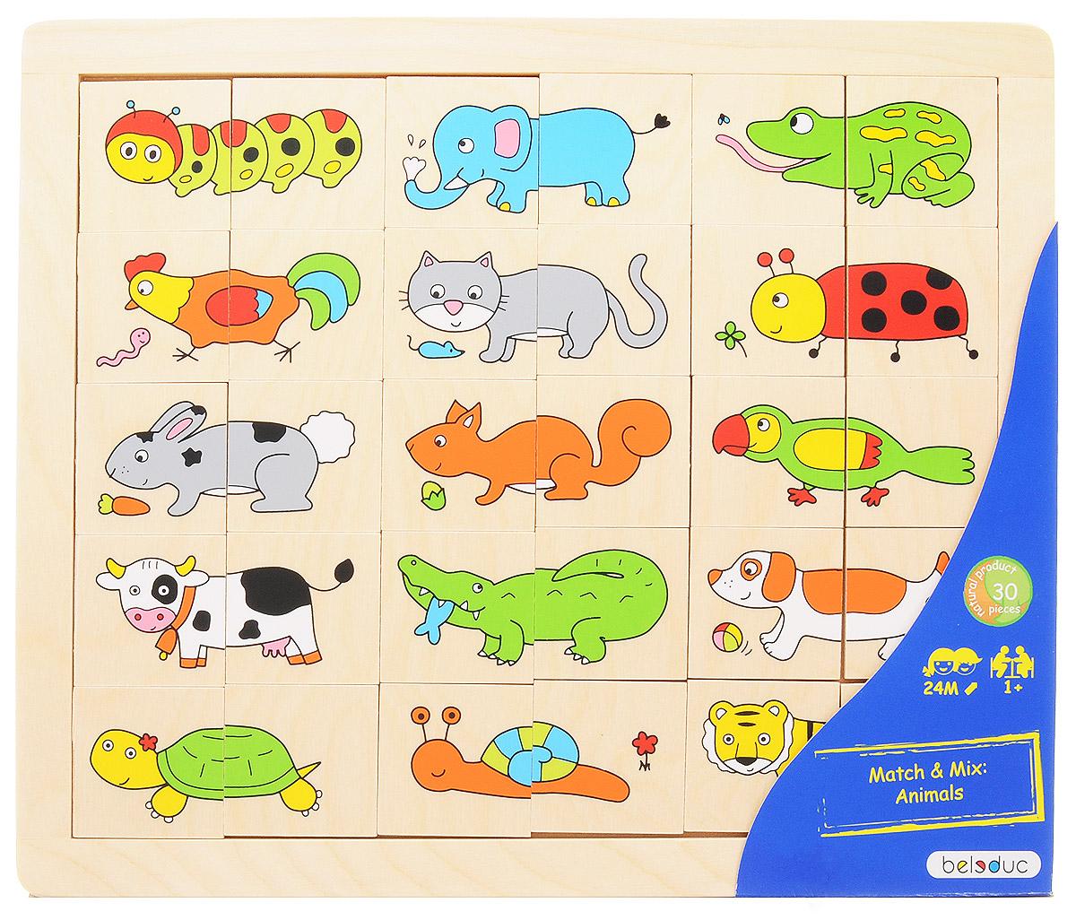 Beleduc Пазл для малышей Животные11006Пазл для малышей Beleduc Животные содержит 30 разноцветных деталей с изображениями животных. Каждая картинка состоит из двух частей. Задача ребенка - правильно составить все картинки и разместить их в рамке. Игра способствует развитию визуального восприятия, наблюдательности, учит различать цвета и формы.