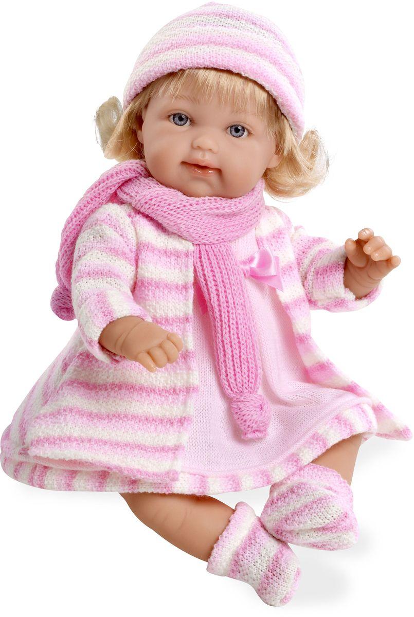 Arias Пупс озвученный Elegance цвет одежды розовый Т59784Т59784Пупс Arias Elegance - отличный подарок вашей малышке. Эта светловолосая девочка с мягконабивным телом и виниловыми ручками, ножками и головой одета в вязаное пальто, шапочку и шарфик. Функционал - смех. Высота пупса - 33 см. В комплект входит соска. Куклы Arias - это удивительный микс долгой семейной традиции необычайно красивого дизайна и стремления создавать лучший в своей категории продукт. Талантливые мастера испанской фабрики Arias создали премиальную коллекцию кукол под названием Elegance (Элеганс) - коллекцию, вдохновленную самой нежностью и элегантностью. Весь процесс производства Elegance взлелеян с величайшей заботой - начиная от момента идеи дизайна каждого компонента и тщательного выбора самых качественных и натуральных материалов, до создания разнообразных кукольных лиц высочайшей детализации. Все для того, чтобы европейский продукт получился непревзойденным, уникальным, высочайшего качества ручной работы.