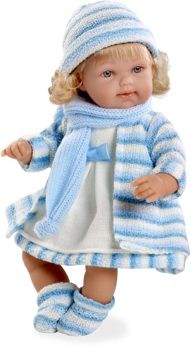 Arias Пупс озвученный Elegance цвет одежды голубой Т59785Т59785Пупс Arias Elegance - отличный подарок вашей малышке. Эта светловолосая девочка с мягконабивным телом и виниловыми ручками, ножками и головой одета в вязаное пальто, шапочку и шарфик. Функционал - смех. Высота пупса - 33 см. В комплект входит соска. Куклы Arias - это удивительный микс долгой семейной традиции необычайно красивого дизайна и стремления создавать лучший в своей категории продукт. Талантливые мастера испанской фабрики Arias создали премиальную коллекцию кукол под названием Elegance (Элеганс) - коллекцию, вдохновленную самой нежностью и элегантностью. Весь процесс производства Elegance взлелеян с величайшей заботой - начиная от момента идеи дизайна каждого компонента и тщательного выбора самых качественных и натуральных материалов, до создания разнообразных кукольных лиц высочайшей детализации. Все для того, чтобы европейский продукт получился непревзойденным, уникальным, высочайшего качества ручной работы.