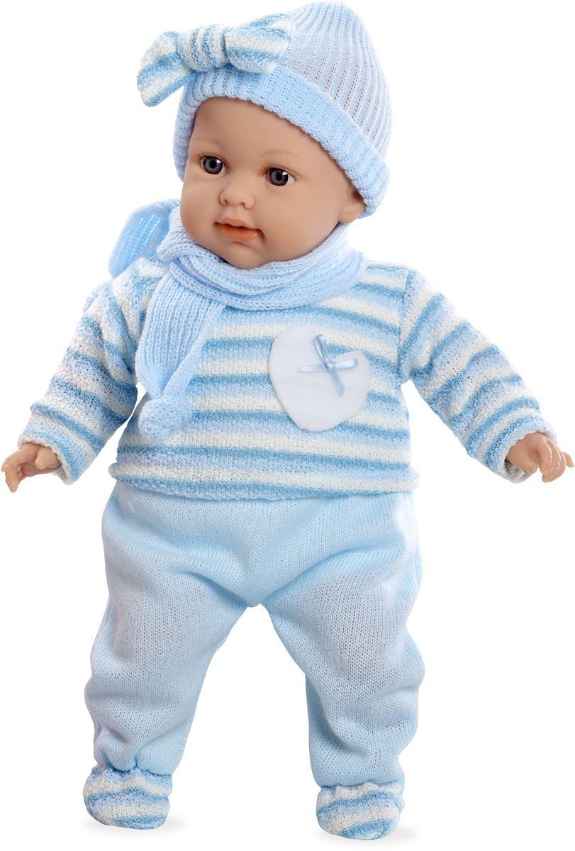 Arias Пупс озвученный Elegance цвет одежды голубой Т59787Т59787Пупс Arias Elegance - отличный подарок вашей малышке. Пупс с мягконабивным телом и виниловыми ручками, ножками и головой одет в вязаный костюмчик, шапочку и шарфик. Функционал - плач. Высота пупса - 42 см. В комплект входит соска. Куклы Arias - это удивительный микс долгой семейной традиции необычайно красивого дизайна и стремления создавать лучший в своей категории продукт. Талантливые мастера испанской фабрики Arias создали премиальную коллекцию кукол под названием Elegance (Элеганс) - коллекцию, вдохновленную самой нежностью и элегантностью. Весь процесс производства Elegance взлелеян с величайшей заботой - начиная от момента идеи дизайна каждого компонента и тщательного выбора самых качественных и натуральных материалов, до создания разнообразных кукольных лиц высочайшей детализации. Все для того, чтобы европейский продукт получился непревзойденным, уникальным, высочайшего качества ручной работы.