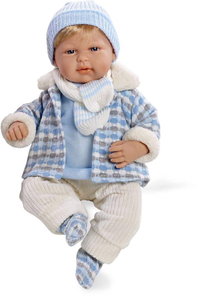 Arias Пупс озвученный Elegance цвет одежды голубой Т59789Т59789Пупс Arias Elegance - отличный подарок вашей малышке. Этот светловолосый мальчик с мягконабивным телом и виниловыми ручками, ножками и головой одет в теплую курточку, шапочку и шарфик. Функционал - смех. Высота пупса - 45 см. В комплект входит соска. Куклы Arias - это удивительный микс долгой семейной традиции необычайно красивого дизайна и стремления создавать лучший в своей категории продукт. Талантливые мастера испанской фабрики Arias создали премиальную коллекцию кукол под названием Elegance (Элеганс) - коллекцию, вдохновленную самой нежностью и элегантностью. Весь процесс производства Elegance взлелеян с величайшей заботой - начиная от момента идеи дизайна каждого компонента и тщательного выбора самых качественных и натуральных материалов, до создания разнообразных кукольных лиц высочайшей детализации. Все для того, чтобы европейский продукт получился непревзойденным, уникальным, высочайшего качества ручной работы.