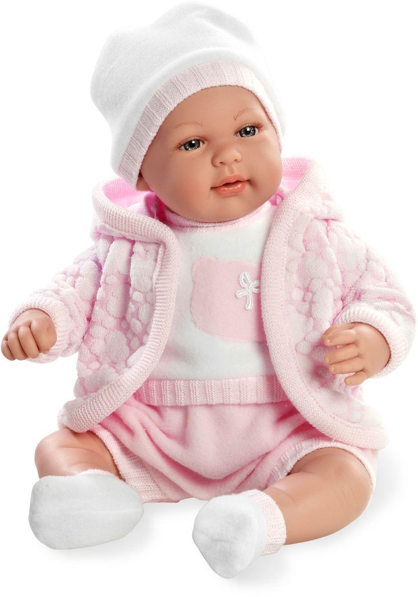 Arias Пупс озвученный Elegance цвет одежды розовый Т59791Т59791Пупс Arias Elegance - отличный подарок вашей малышке. Пупс с мягконабивным телом и виниловыми ручками, ножками и головой одет в теплую курточку, костюмчик и шапочку. Функционал - плач. Высота пупса - 45 см. В комплект входит соска. Куклы Arias - это удивительный микс долгой семейной традиции необычайно красивого дизайна и стремления создавать лучший в своей категории продукт. Талантливые мастера испанской фабрики Arias создали премиальную коллекцию кукол под названием Elegance (Элеганс) - коллекцию, вдохновленную самой нежностью и элегантностью. Весь процесс производства Elegance взлелеян с величайшей заботой - начиная от момента идеи дизайна каждого компонента и тщательного выбора самых качественных и натуральных материалов, до создания разнообразных кукольных лиц высочайшей детализации. Все для того, чтобы европейский продукт получился непревзойденным, уникальным, высочайшего качества ручной работы.