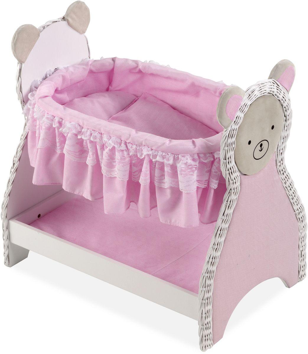 Arias Кроватка для кукол Elegance Т59796Т59796Прекрасная деревянная кроватка Arias Elegance пополнит коллекцию мебели для кукол вашей малышки. Кроватка имеет постельку и нижнюю полочку. На боковинах кроватки изображены мордочки медведей. Размер: 52 см x 34 см x 50 см.