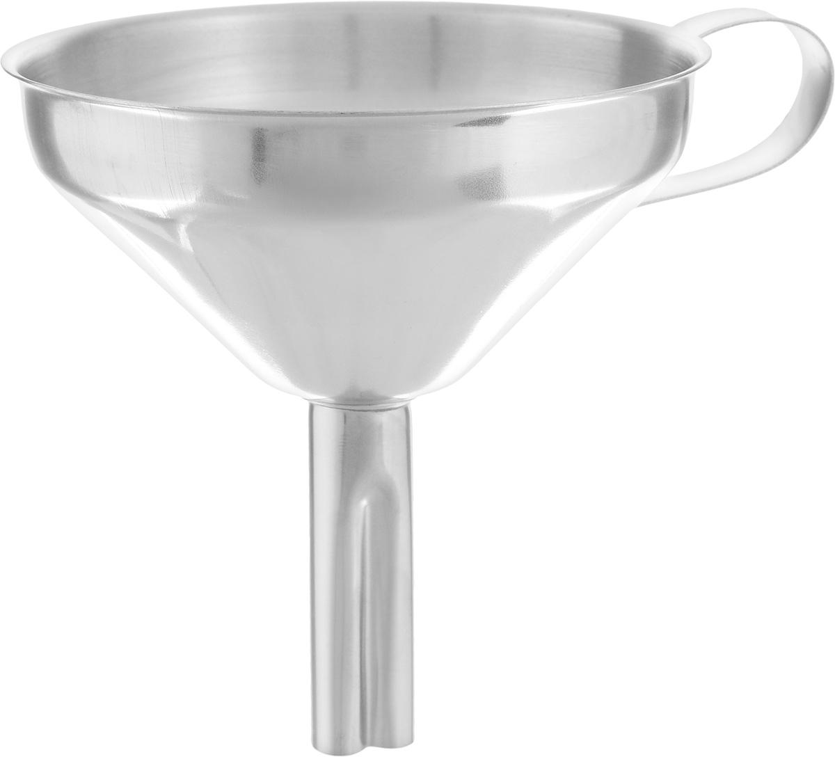 Воронка Axentia, диаметр 10 см290708Воронка Axentia изготовлена из нержавеющей стали. Предназначена для переливания жидкостей в сосуд с узким горлышком. Воронка плотно прилегает к краям наполняемой емкости, поэтому вы ни капли не прольете мимо. Изделие оснащено удобной ручкой. Такая воронка станет прекрасным дополнением к коллекции ваших кухонных аксессуаров. Диаметр воронки: 10 см. Высота воронки: 10,5 см.