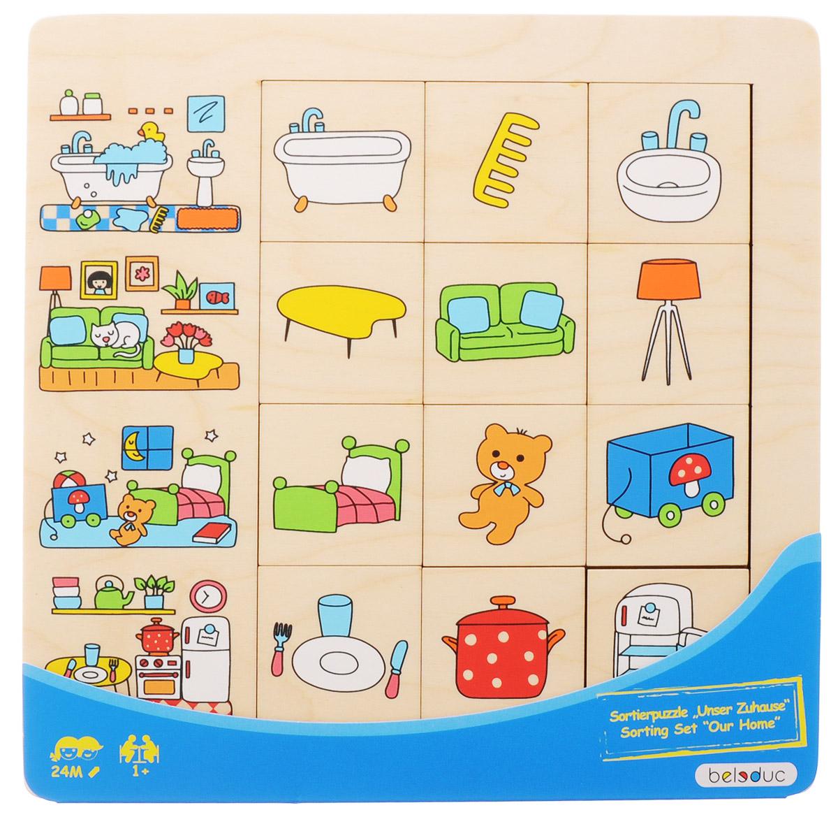 Beleduc Пазл для малышей Наш дом11040Пазл для малышей Beleduc Наш дом - прекрасная развивающая игрушка для каждого ребенка. В какой части дома можно найти кастрюлю? Играя в этот пазл, дети узнают о вещах повседневного быта и познакомятся с комнатами дома или квартиры. Пазл развивает мышление, логику, моторику, коммуникативные навыки. Пазл изготовлен из высококачественного дерева, покрыт безопасными красками.