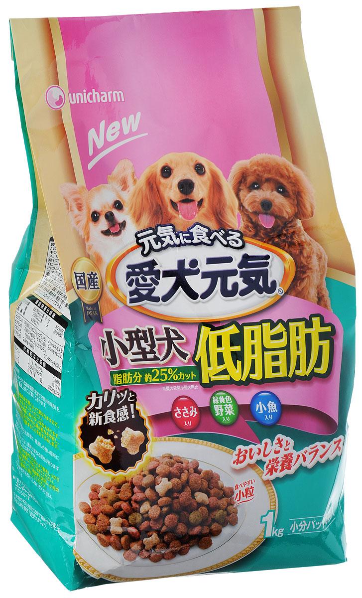 Корм сухой Unicharm Aiken Genki для собак мелких пород, с курицей, овощами и мелкой рыбой, 1 кг615577Хорошо сбалансированный сухой корм для собак мелких пород Unicharm Aiken Genki содержит все необходимые витамины и минералы для поддержания здоровья вашего питомца. Пониженное содержание жира (на 25% меньше калорий) нормализует обмен веществ, облегчает нагрузку на печень и почки. Содержит ценные жирные кислоты омега 6 и 3, витамин Е для здоровой кожи и блестящей шерсти. Гармоничное сочетание важных микроэлементов, кальция и фосфора способствует сохранению здоровья костей и зубов. Корм легко усваивается, содержит смешанные диетические волокна для улучшения пищеварения и стабилизации стула собаки. Гранулы имеют малый размер, чтобы собака легко смогла их разжевать. Товар сертифицирован.