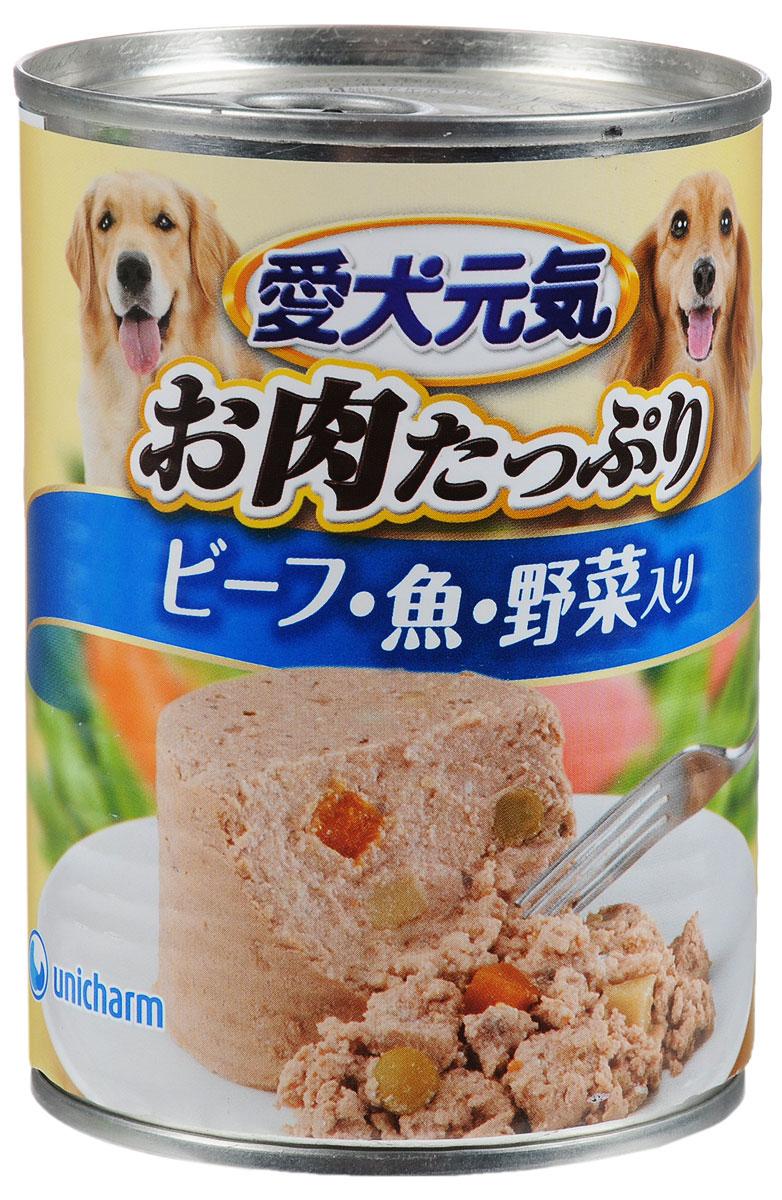 Консервы Unicharm Aiken Genki для собак старше 7 лет, с говядиной, рыбой и овощами, 375 г671054Консервы Unicharm Aiken Genki - это сбалансированное высококачественное питание для собак старше 7 лет. Аппетитные сочные кусочки говядины и овощей в тающем мясном соусе произведены с сохранением всех свойств натуральных продуктов, содержат комплекс питательных веществ и микроэлементов, необходимых для поддержания здоровья и хорошей физической формы вашего четвероногого друга. Корм полностью удовлетворяет ежедневные энергетические потребности взрослого животного и обеспечивает оптимальное функционирование пищеварительной системы. Товар сертифицирован.