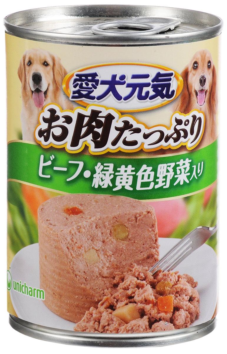 Консервы Unicharm Aiken Genki для собак, с говядиной и овощами, 375 г670835Влажный корм для собак Unicharm Aiken Genki - это сбалансированное высококачественное питание для собак. Аппетитные сочные кусочки говядины, овощей и рыбы в тающем соусе произведены с сохранением всех свойств натуральных продуктов, содержат комплекс питательных веществ и микроэлементов, необходимых для полноценного развития вашего четвероногого друга. Корм полностью удовлетворяет ежедневные энергетические потребности взрослого животного и обеспечивает оптимальное функционирование пищеварительной системы. Товар сертифицирован.