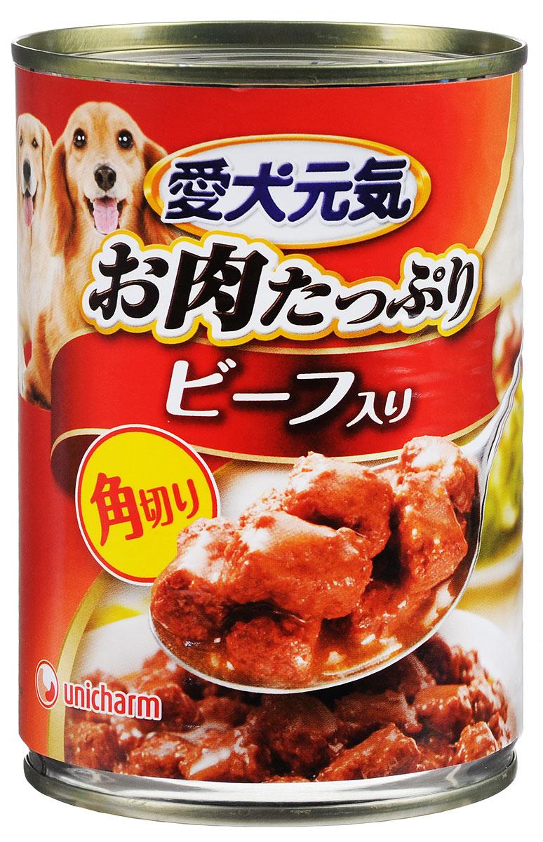 Консервы Unicharm Aiken Genki для собак, с говяжьим гуляшом, 400 г671139Консервы Unicharm Aiken Genki - это сбалансированное высококачественное питание для вашего питомца. Аппетитные сочные кусочки говядины в тающем соусе не только вкусны, но и очень полезны. Продукт произведен с сохранением всех свойств натуральной говядины, содержит комплекс питательных веществ и микроэлементов, необходимых для полноценного развития вашего четвероногого друга. Корм полностью удовлетворяет ежедневные энергетические потребности взрослого животного и обеспечивает оптимальное функционирование пищеварительной системы. Товар сертифицирован.