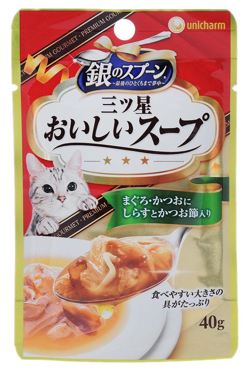 Консервы Unicharm Silver Spoon для кошек, с тунцом и скумбрией, 40 г640012Влажный корм Unicharm Silver Spoon со вкусом тунца и скумбрии - это вкусное и полезное питание для взрослых кошек. Продукт изготовлен только из натуральных ингредиентов высокого качества, содержит комплекс витаминов и минералов, необходимых для поддержания здоровья вашего питомца. Такой корм позволяет домашнему животному долго чувствовать себя сытым и сохранить энергию. Товар сертифицирован.