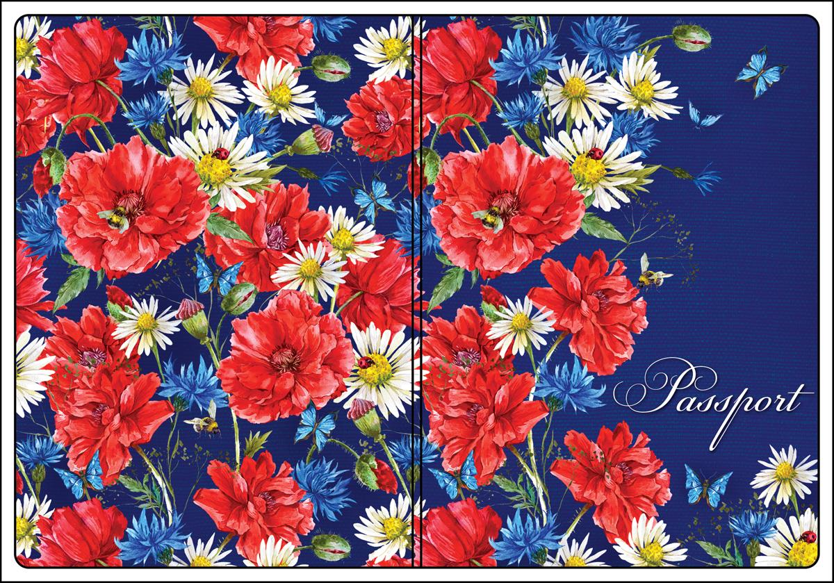 Обложка для паспорта женская Magic Home, цвет: синий, красный. 4450844508Обложка для паспорта классической модели.