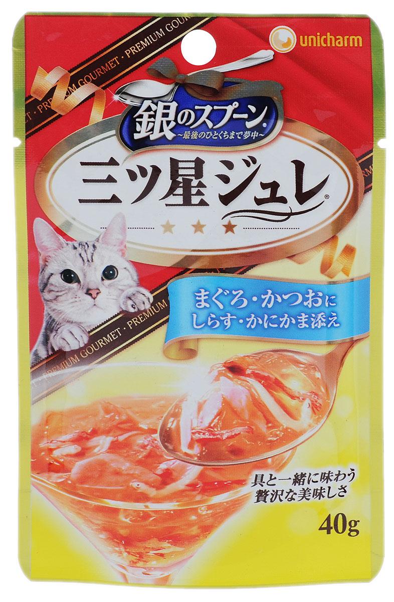 Консервы Unicharm Silver Spoon для кошек, с желе из скумбрии и тунца, 40 г688182Восхитительное желе Unicharm Silver Spoon с нежным вкусом тунца и скумбрии - это полноценное питание для вашей кошки. Продукт изготовлен только из натуральных ингредиентов без искусственных красителей и консервантов. Содержит витаминно-минеральный комплекс для здоровья и отлично физической формы пушистого питомца. Товар сертифицирован.