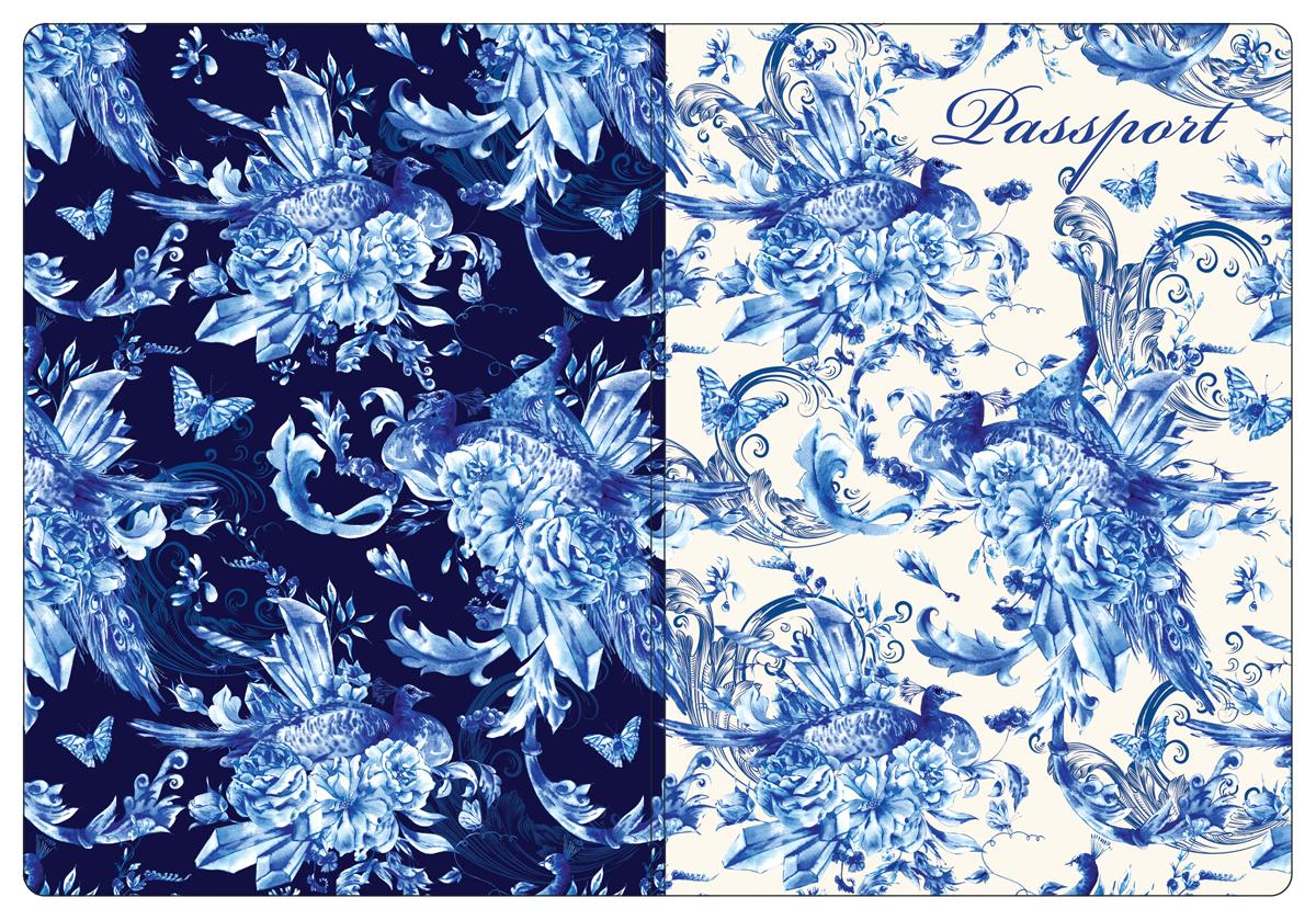 Обложка для паспорта женская Magic Home, цвет: синий, белый. 4451344513Обложка для паспорта классической модели.
