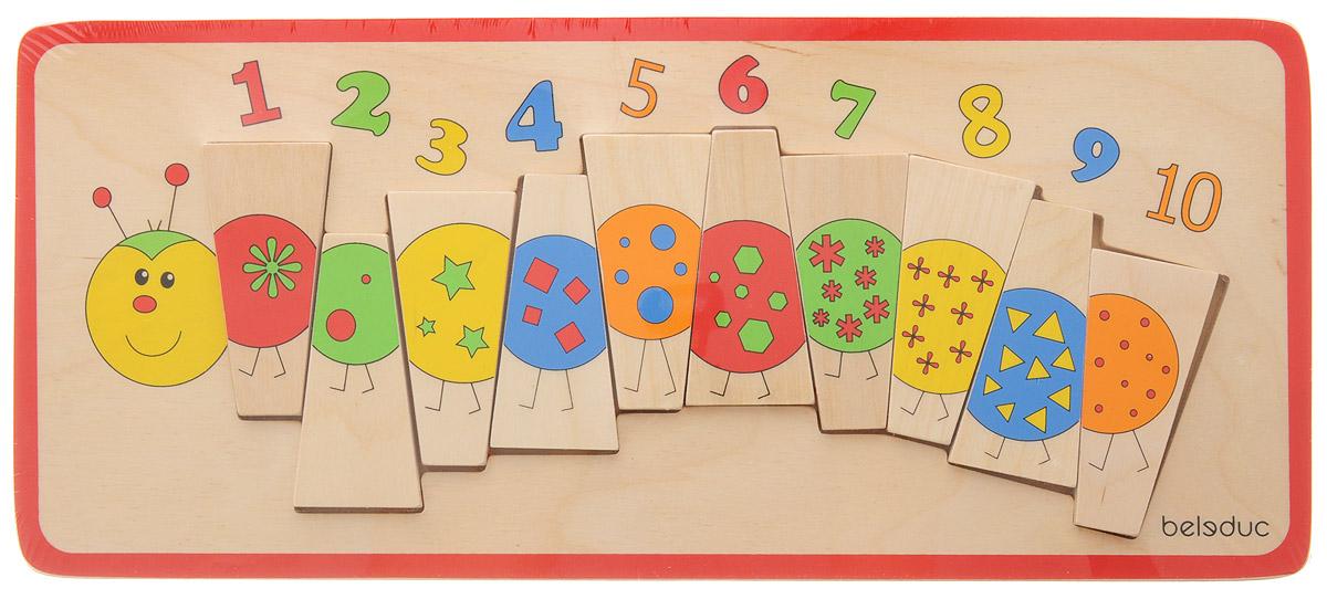 Beleduc Пазл для малышей Гусеница11008Научиться считать с помощью пазла для малышей Beleduc Гусеница - настоящее удовольствие. Прямоугольный деревянный пазл включает 10 элементов и основу. В процессе игры дети знакомятся с различными цветами, формами и цифрами от 1 до 10. Точки, изображенные на обратной стороне каждого элемента, помогают правильно разместить детали пазла. Пазл выполнен из качественного и безопасного материала - дерева.