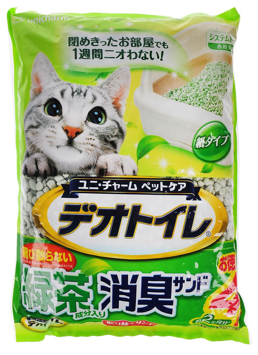 Наполнитель для кошачьего туалета Unicharm DeoToilet, с ароматом зеленого чая, 4 л680759Натуральный целлюлозный гигиенический наполнитель для кошачьих туалетов Unicharm DeoToilet активно впитывает не только жидкость, но и запах. Наполнитель не превращается в вязкую массу, не остается на шерсти и в лапках кошки. Очень экономичен в использовании. Содержит специальные ароматизированные гранулы, предотвращающие распространение запахов даже в закрытом помещении, надолго обеспечивает чистоту и свежесть лотка вашей кошки. Аромат зеленого чая создает дополнительное ощущение свежести при использовании. Состав: целллюлозно-полимерный поглотитель, ароматизатор, экстракт зеленого чая. Товар сертифицирован.