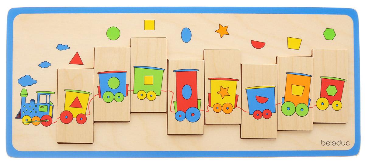 Beleduc Пазл для малышей Паровозик11009Пазл для малышей Beleduc Паровозик стимулирует детей к изучению геометрических фигур благодаря цветному и привлекательному дизайну этого пазла-поезда, который состоит из 8 вагонов с чудесными окошками. Малыши знакомятся с треугольниками, кругами, квадратами. Пазл выполнен из качественного и безопасного материала - дерева.