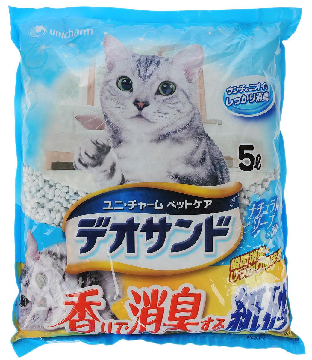 Наполнитель для кошачьего туалета Unicharm DeoSand Kamisuna, с ароматом душистого мыла, 5 л676836Бумажный наполнитель для кошачьего туалета Unicharm DeoSand Kamisuna обеспечивает мощное дезодорирующее действие в течение длительного времени, полностью устраняет запах кошачьих экскрементов. Мгновенно впитывает влагу и собирается в твердые комочки. При поглощении влаги наполнитель меняет цвет, благодаря чему его можно своевременно обнаружить и удалить. Наполнитель производится из экологически чистых природных материалов. Изделие содержит специальные ароматизированные гранулы, которые предотвращают распространение запахов даже в закрытом помещении. Наполнитель Unicharm DeoSand Kamisuna надолго обеспечивает чистоту и свежесть лотка вашей кошки. Приятный аромат душистого мыла создает длительное ощущение свежести после использования. Состав: вторичная целлюлоза, абсорбирующий полимер, крахмал, ароматизатор. Товар сертифицирован.
