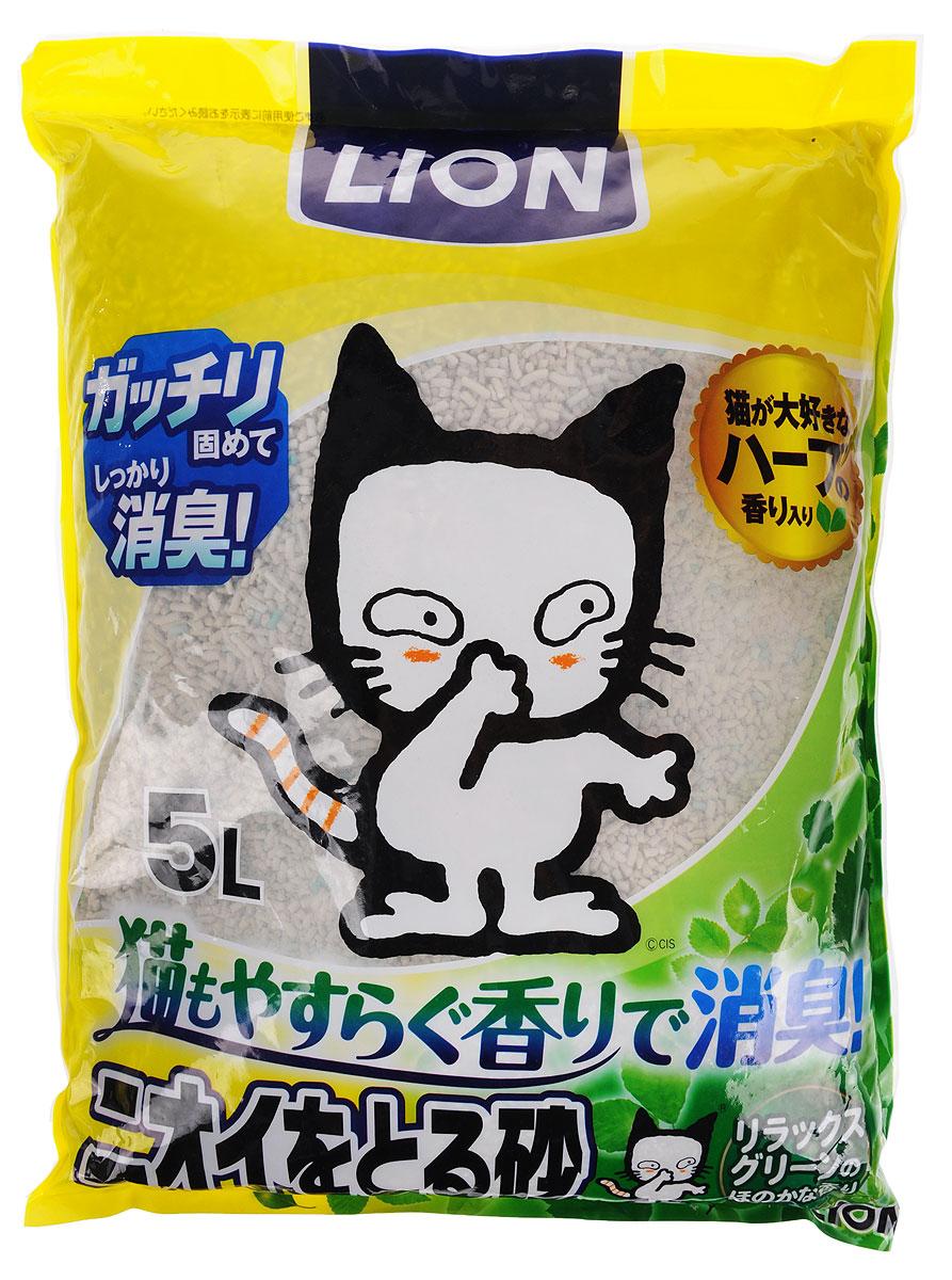 """Наполнитель для кошачьего туалета Lion Manufactory """"Поглощение запаха"""", антибактериальный, с травяным ароматом, 5 л"""