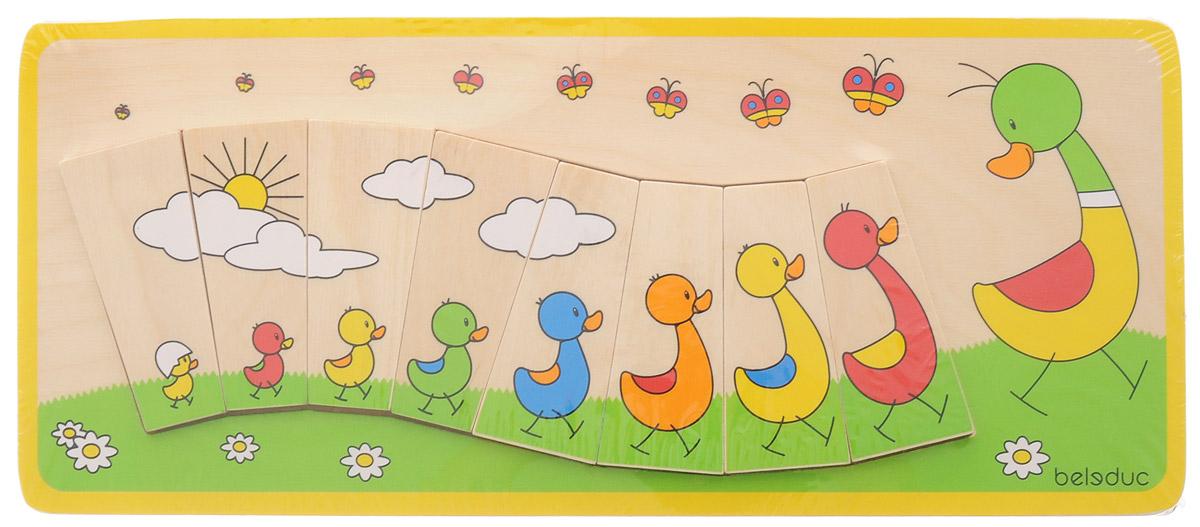 Beleduc Пазл для малышей Утиная семейка11100Пазл для малышей Beleduc Утиная семейка обучает детей основам математики. Дети в игровой форме учатся определять величины и сортировать изображения. Прямоугольный пазл-вкладыш включает 8 элементов и основу. Пазл выполнен из качественного и безопасного материала - дерева.