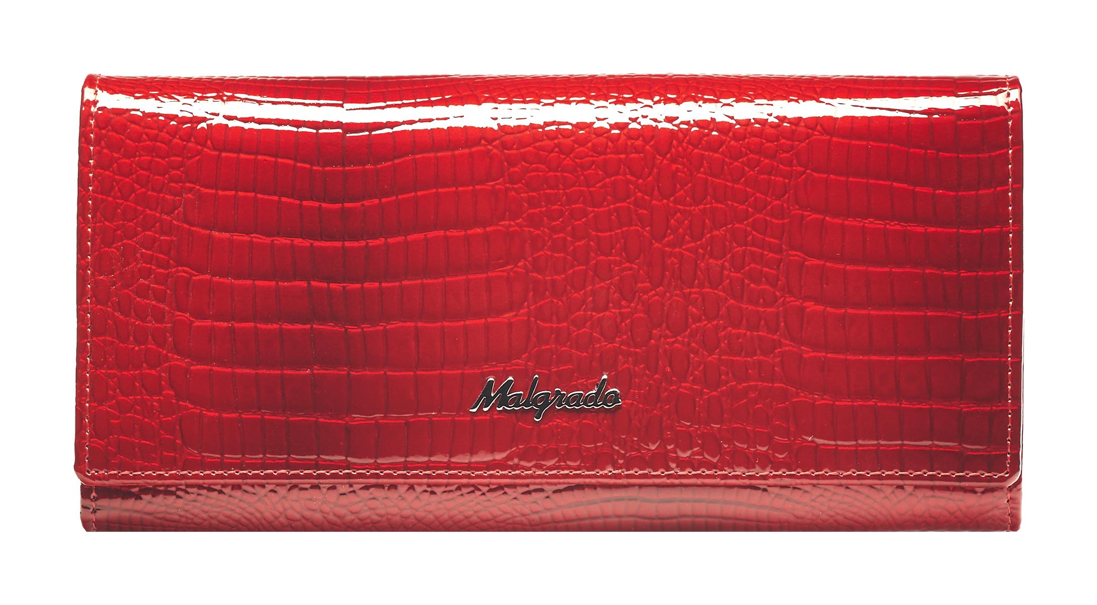 Кошелек женский Malgrado, цвет: красный. 72076-4472076-44Стильный кошелек Malgrado изготовлен из лаковой натуральной кожи красного цвета с декоративным тиснением под рептилию и вмещает в себя купюры в развернутом виде в полную длину. Внутри содержит шесть отделений для купюр, два дополнительных кармана на молнии, четыре кармана для дисконтных карт, визиток, кредиток, один прозрачный кармашек для пропуска, проездного или фотографии и два дополнительных потайных кармана. С оборотной стороны расположен карман на молнии. Закрывается кошелек клапаном на кнопку. Кошелек упакован в подарочную металлическую коробку с логотипом фирмы. Такой кошелек станет замечательным подарком человеку, ценящему качественные и практичные вещи. Характеристики: Материал: натуральная кожа, текстиль, металл. Размер кошелька: 18,5 см х 9 см х 3 см. Цвет: красный. Размер упаковки: 23 см х 13 см х 4,5 см. Артикул: 72076-44.