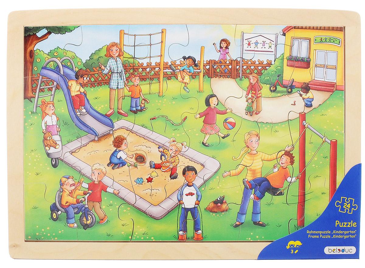 Beleduc Пазл для малышей Детский сад12001Пазл для малышей Beleduc Детский сад состоит из 24 элементов, с помощью которых собирается яркая картинка с хорошо знакомыми ситуациями из повседневной жизни детей в детском саду. Пазл выполнен из экологически чистого материала - натурального дерева и имеет гладкую, отполированную поверхность. Покраска вкладышей производится нетоксичными красками на водной основе. Собирание пазла развивает у ребенка мелкую моторику рук, тренирует наблюдательность, логическое мышление, знакомит с окружающим миром, с цветом и разнообразными формами, учит усидчивости и терпению, аккуратности и вниманию.