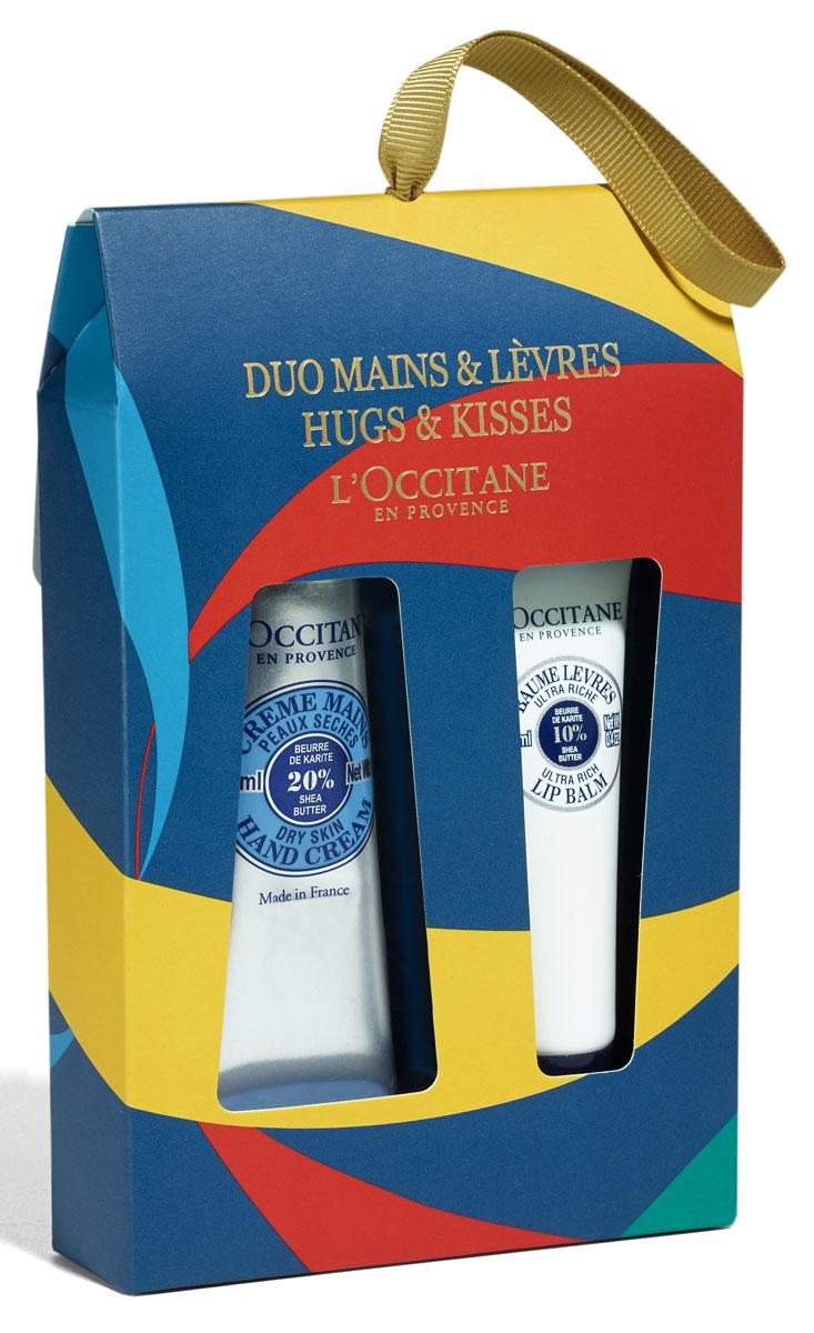 LOccitane Набор для объятьев и поцелуев Карите: Упаковка для набора Поцелуи и Объятия XMAS 2016 (синяя), Крем для рук Карите 30 мл, Увлажняющий бальзам для губ Карите 12 мл (LOccitane En Provence)