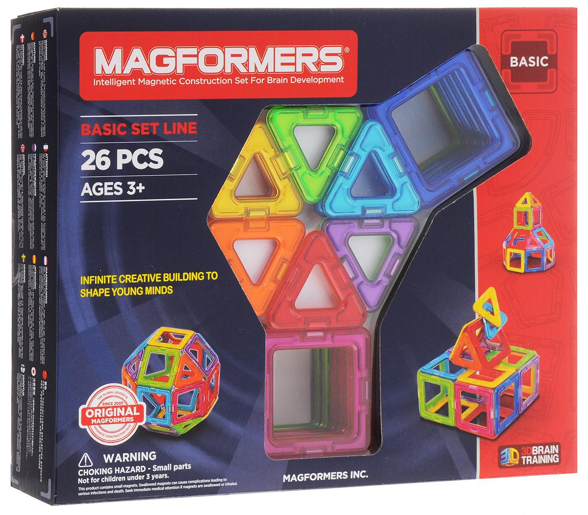 Magformers Магнитный конструктор Basic Set63087/701004 26Магнитный конструктор Magformers Basic Set позволит построить различные 3D модели из двух видов геометрических фигур - треугольников и квадратов разных цветов. Почувствуйте силу магнитного поля, исследуйте и экспериментируйте с многочисленными вариантами соединений деталей! Элементы конструктора Magformers окрашены в голубой цвет с одной стороны, и в синий - с другой. В комплекте 26 элементов: 8 треугольников и 18 квадратов.