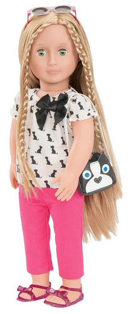 Our Generation Кукла Бель11569Кукла Our Generation Бель очарует любую девочку, ведь она тоже очень любит мечтать и веселиться, а еще, она просто обожает маленьких собачек. Тело куколки мягконабивное, а голова, ноги и руки выполнены из прочного материала. Материал нетоксичен и не вызывает аллергии. Кукла одета в розовые брючки и кофточку. На ногах Бель - сандалии. У куклы длинные густые волосы, которые вдохновляют на новые эксперименты с разнообразными прическами. В комплект с куклой входят сумочка с изображением собачки и солнечные очки. Благодаря играм с куклой, ваша малышка сможет развить фантазию и любознательность, овладеть навыками общения и научиться ответственности. Порадуйте свою принцессу таким прекрасным подарком!