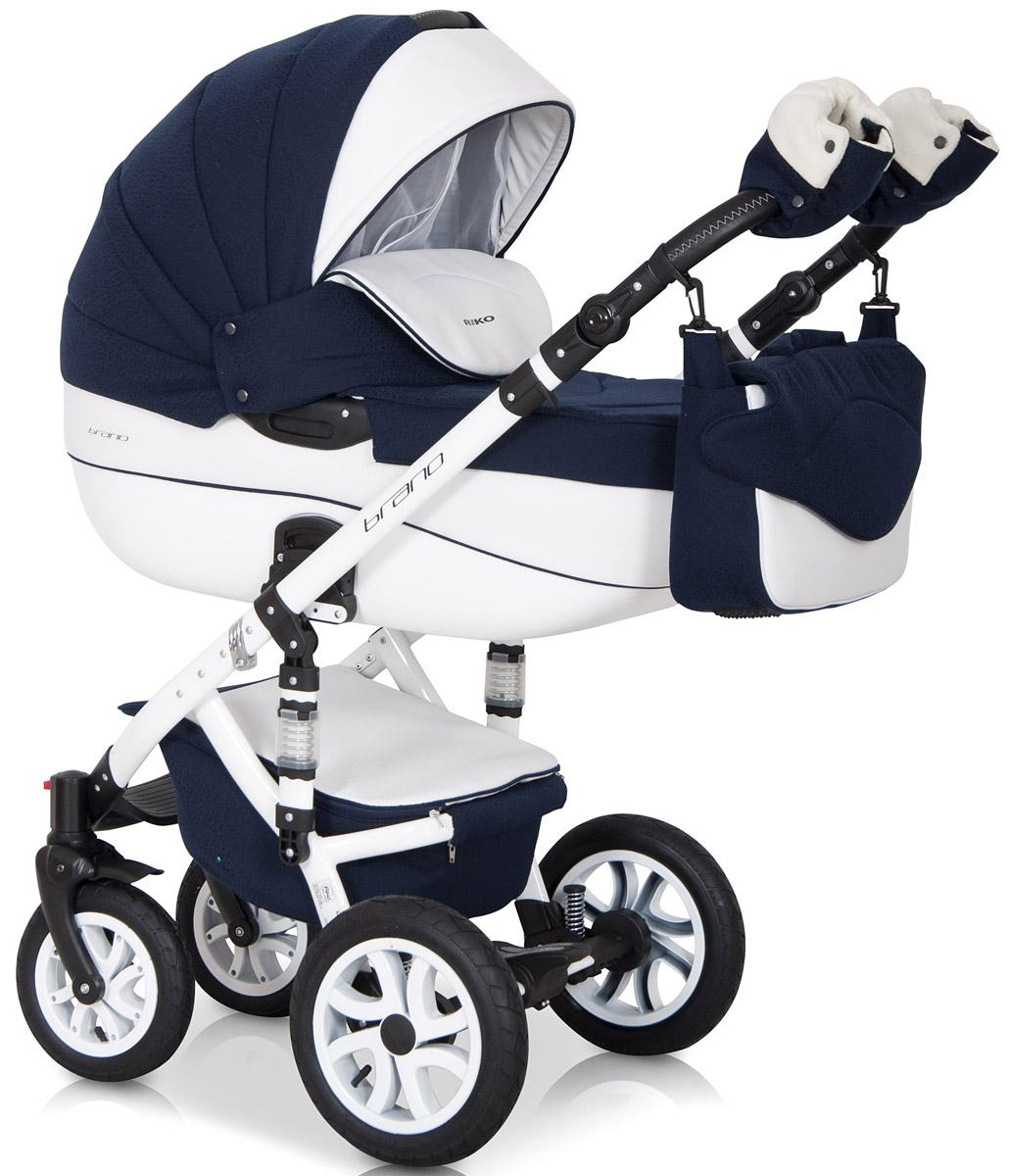 Riko Коляска 2 в 1 Brano Ecco цвет белый синий5901812682819Комбинированная коляска 2-в-1. Просторная пластиковая люлька, прогулочное сидение со всеми регулировками, закрытая корзина, сумка, вставки из премиальной кожи, надувные колеса, алюминиевая конструкция